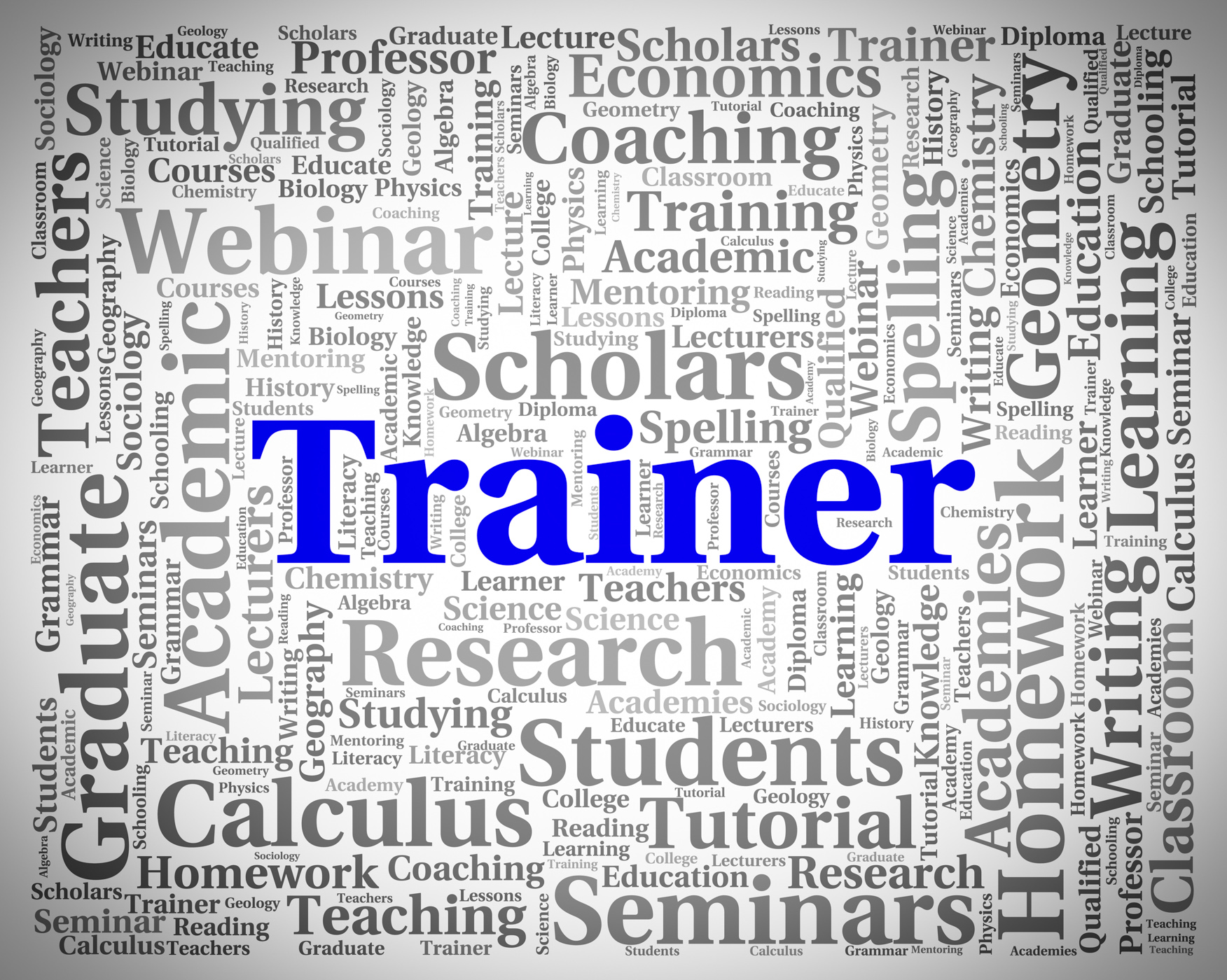 Trainer word shows give lessons and coaching photo