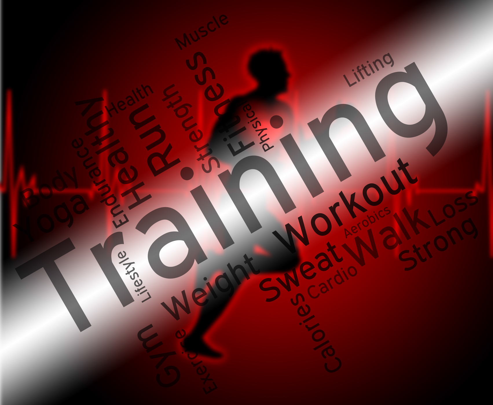 Training words indicates get fit and aerobic photo
