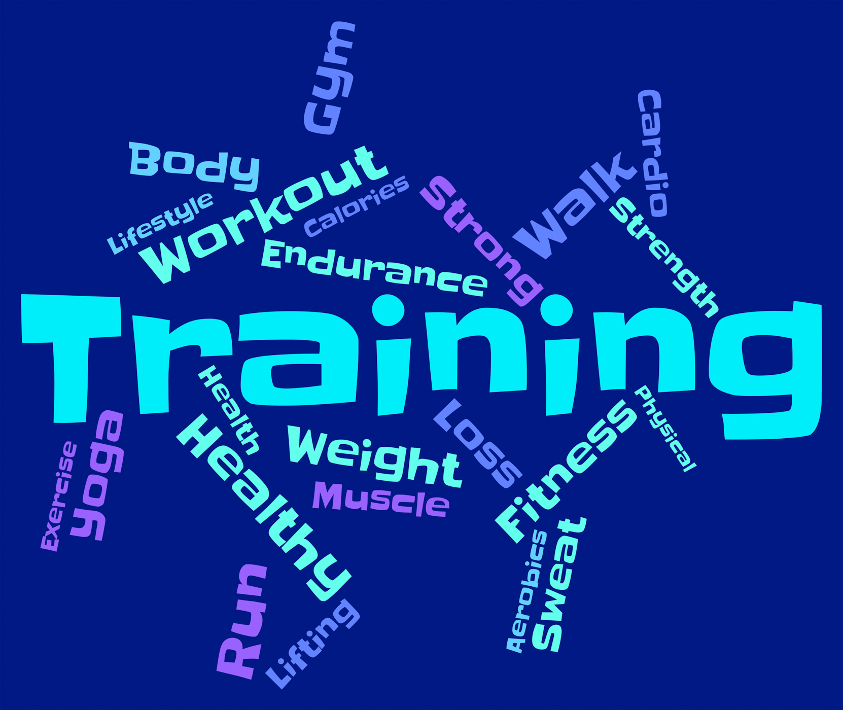 Training words shows getting fit and exercise photo