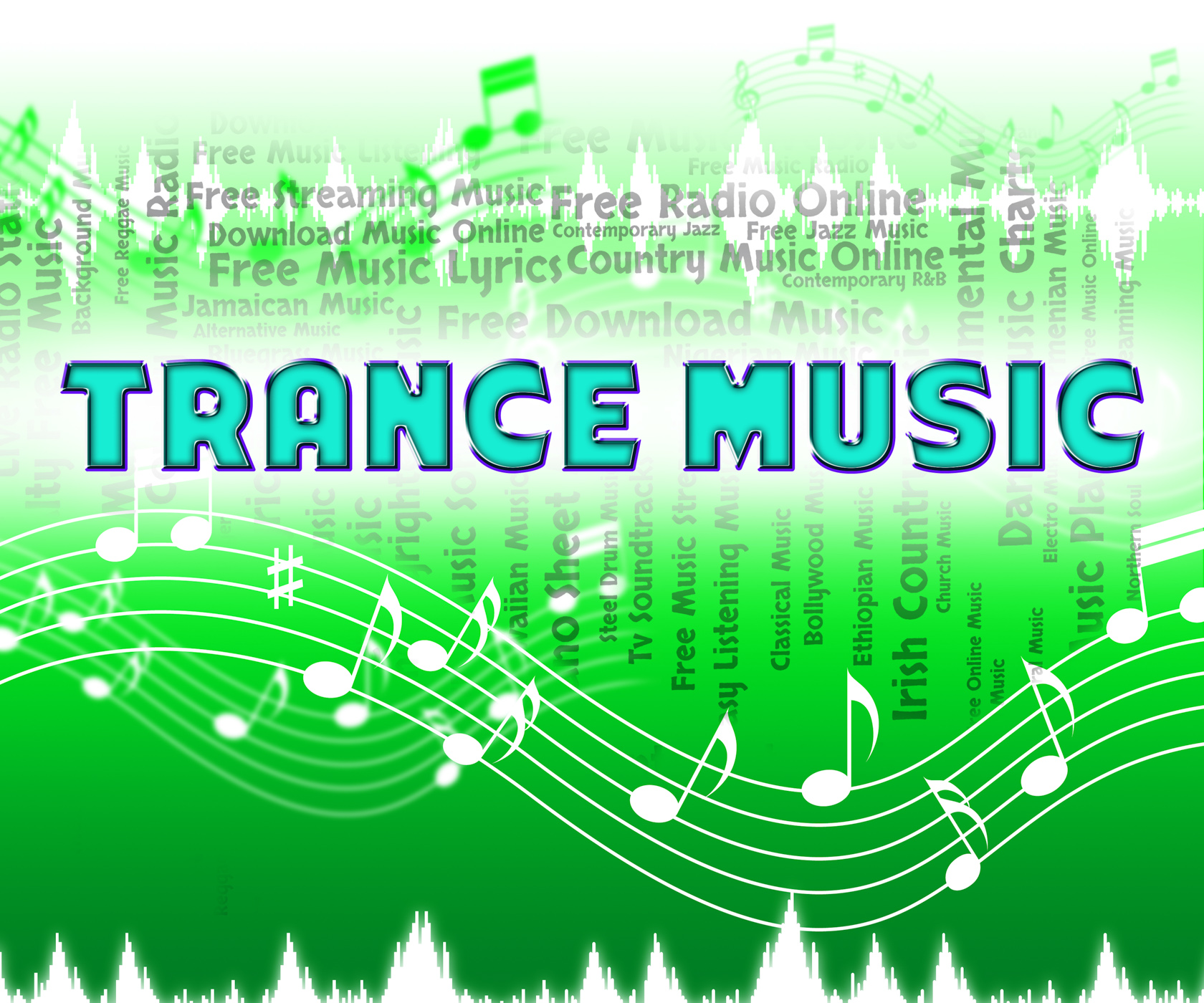 Trance music means sound tracks and audio photo