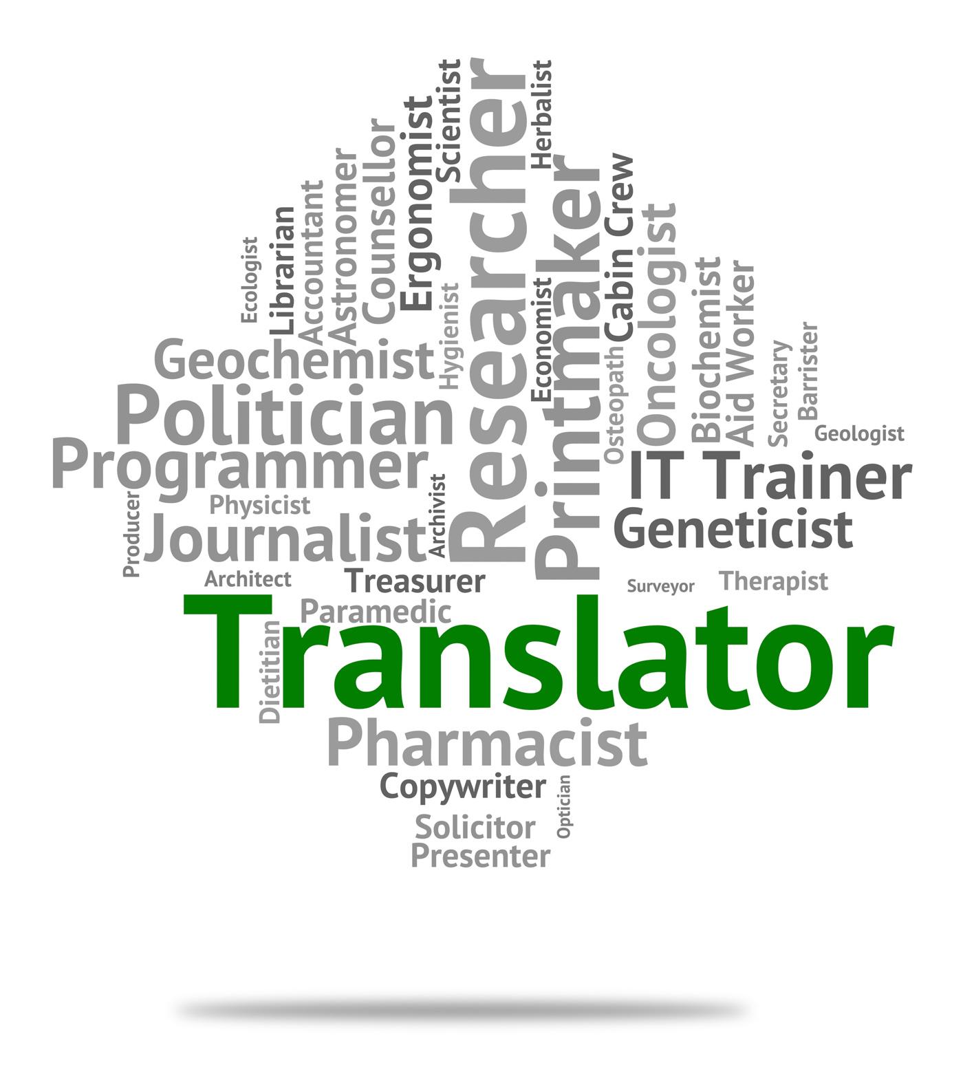 Translator job means translates decipherer and word photo