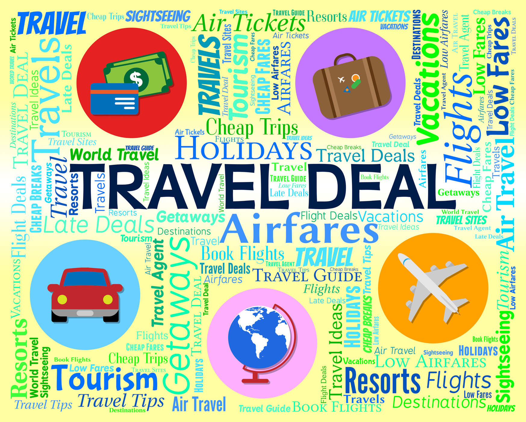 Travel deal represents word promotion and vacation photo