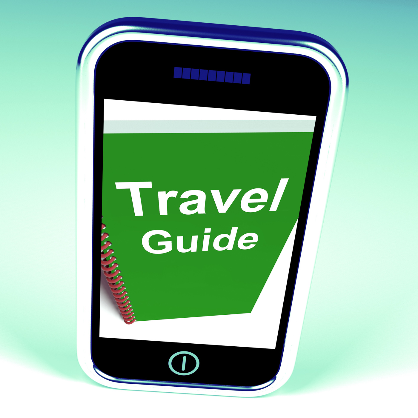 Travel guide phone represents advice on traveling photo