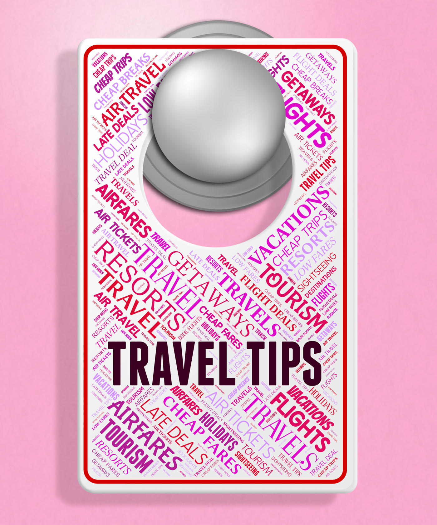 Travel tips indicates signs tours and hints photo