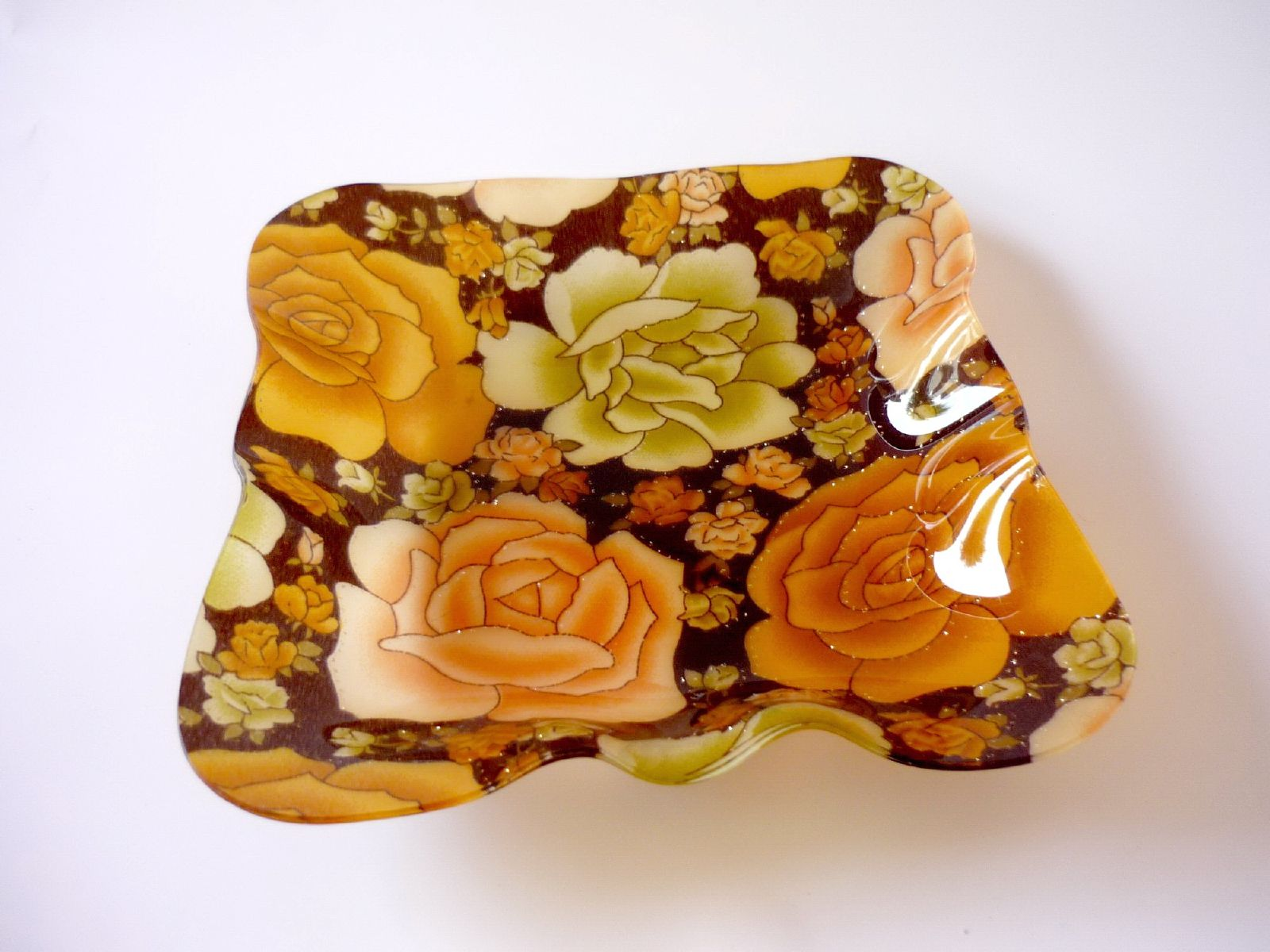 Tray, Plate, Roses, Plastic, Yellow, HQ Photo