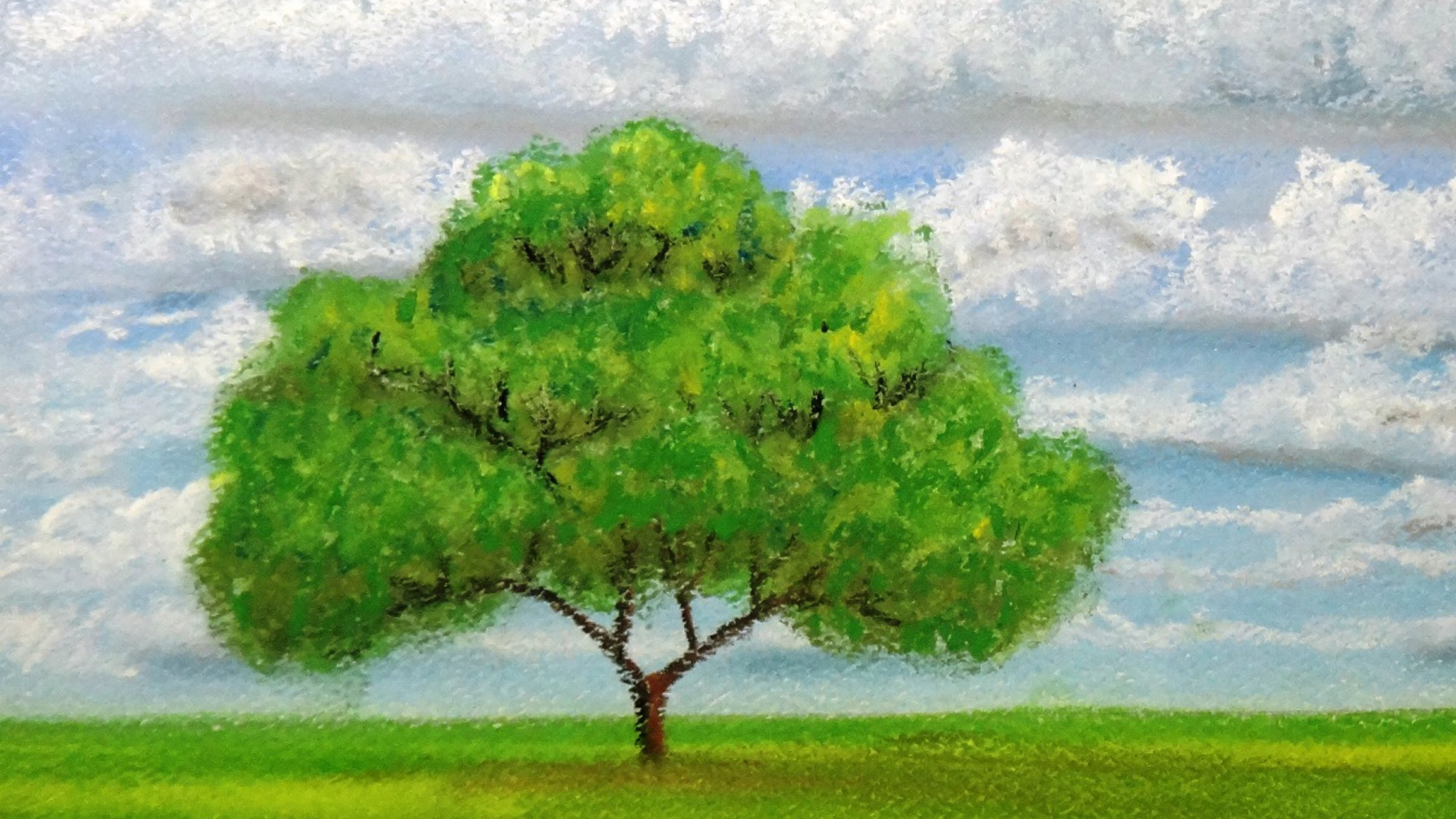How to draw a tree at distance with pastels - YouTube