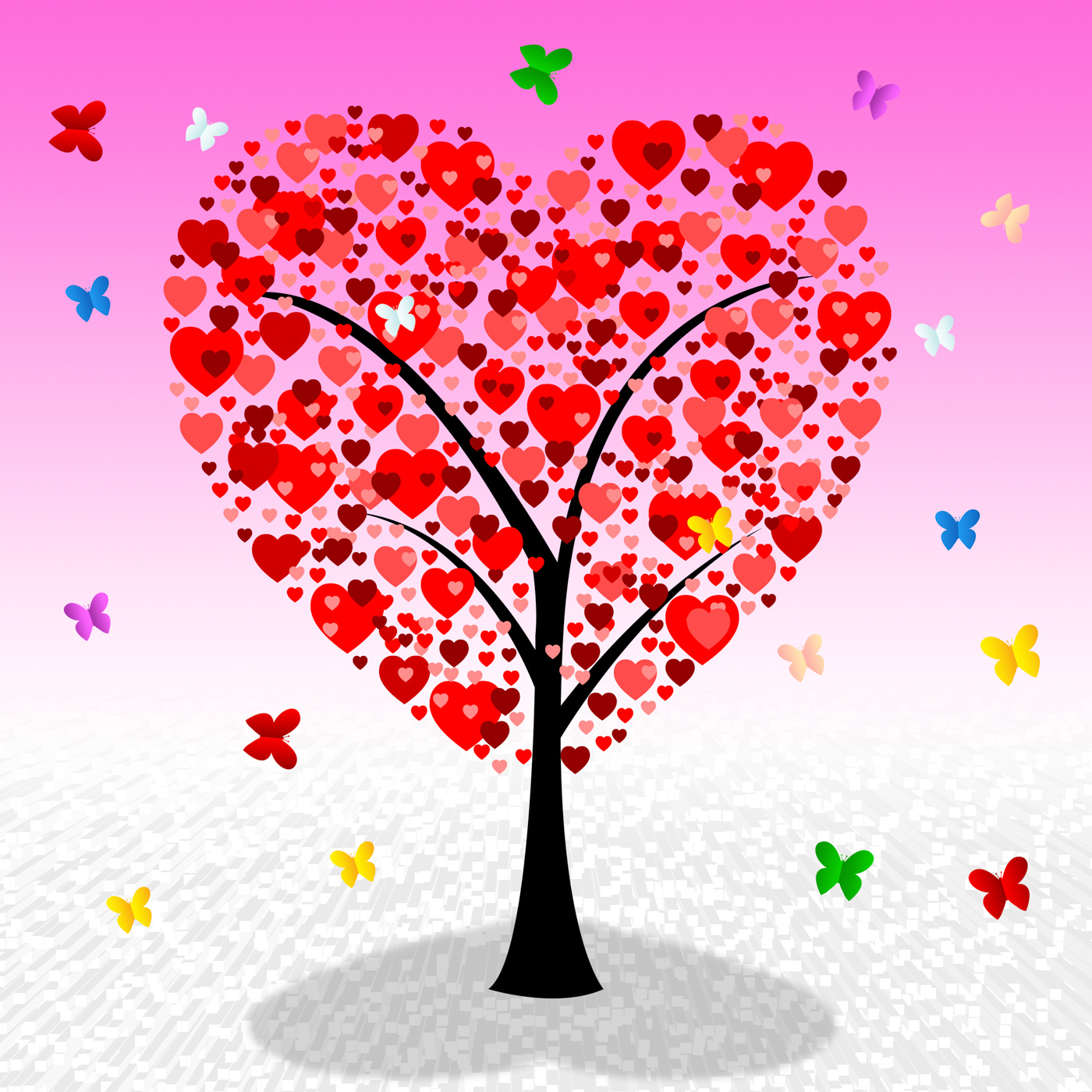Tree hearts indicates valentines day and affection photo
