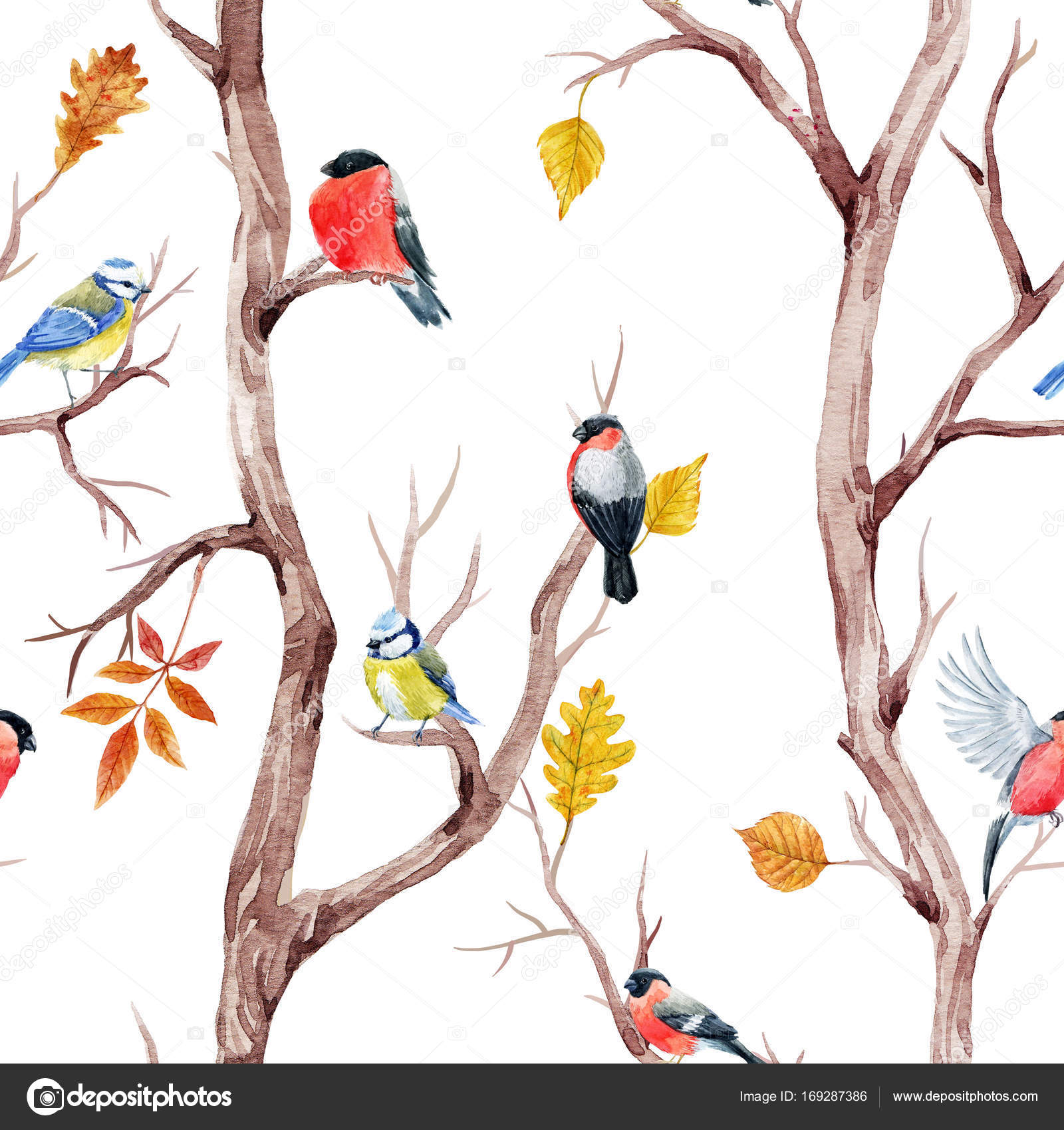 Fall trees and birds pattern — Stock Photo © ZeninaAsya #169287386