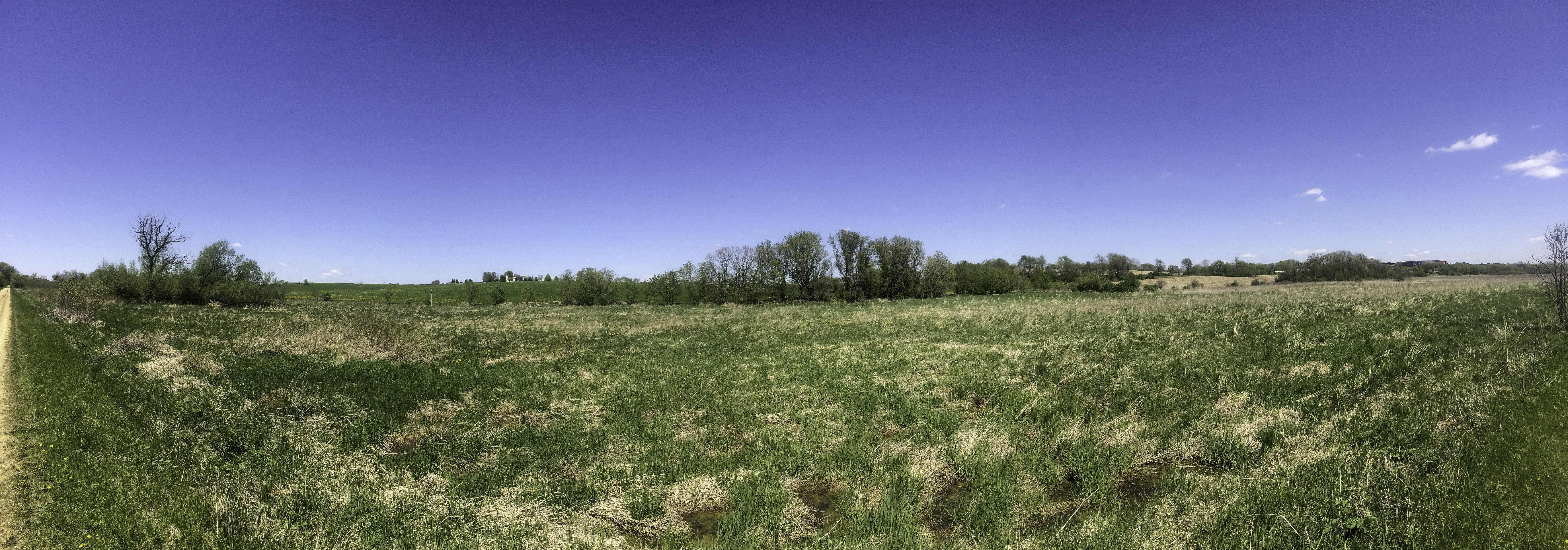 Panorama of grassland and trees on the Military Ridge State Trail ...