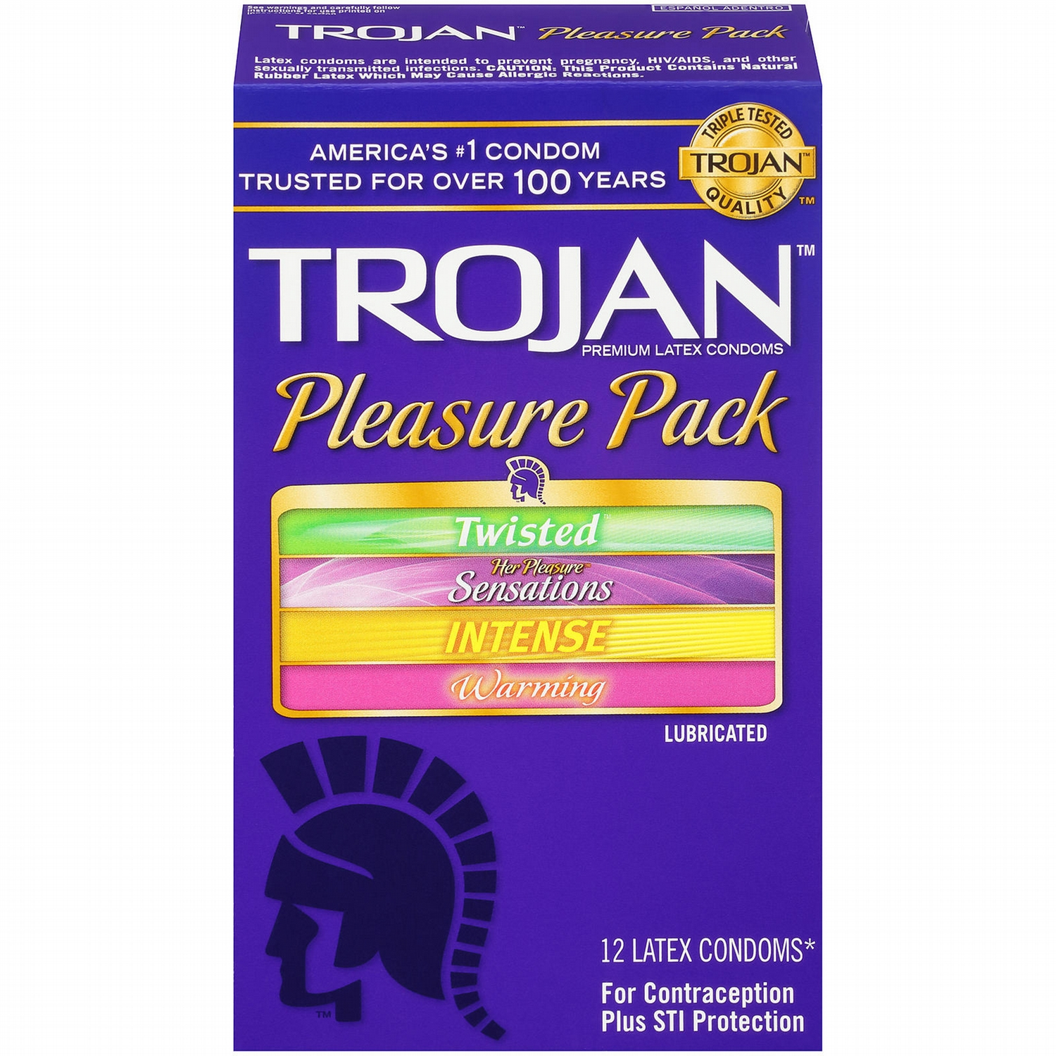 Trojan Condoms, Premium Latex, Lubricated, Pleasure Pack, 12 condoms ...