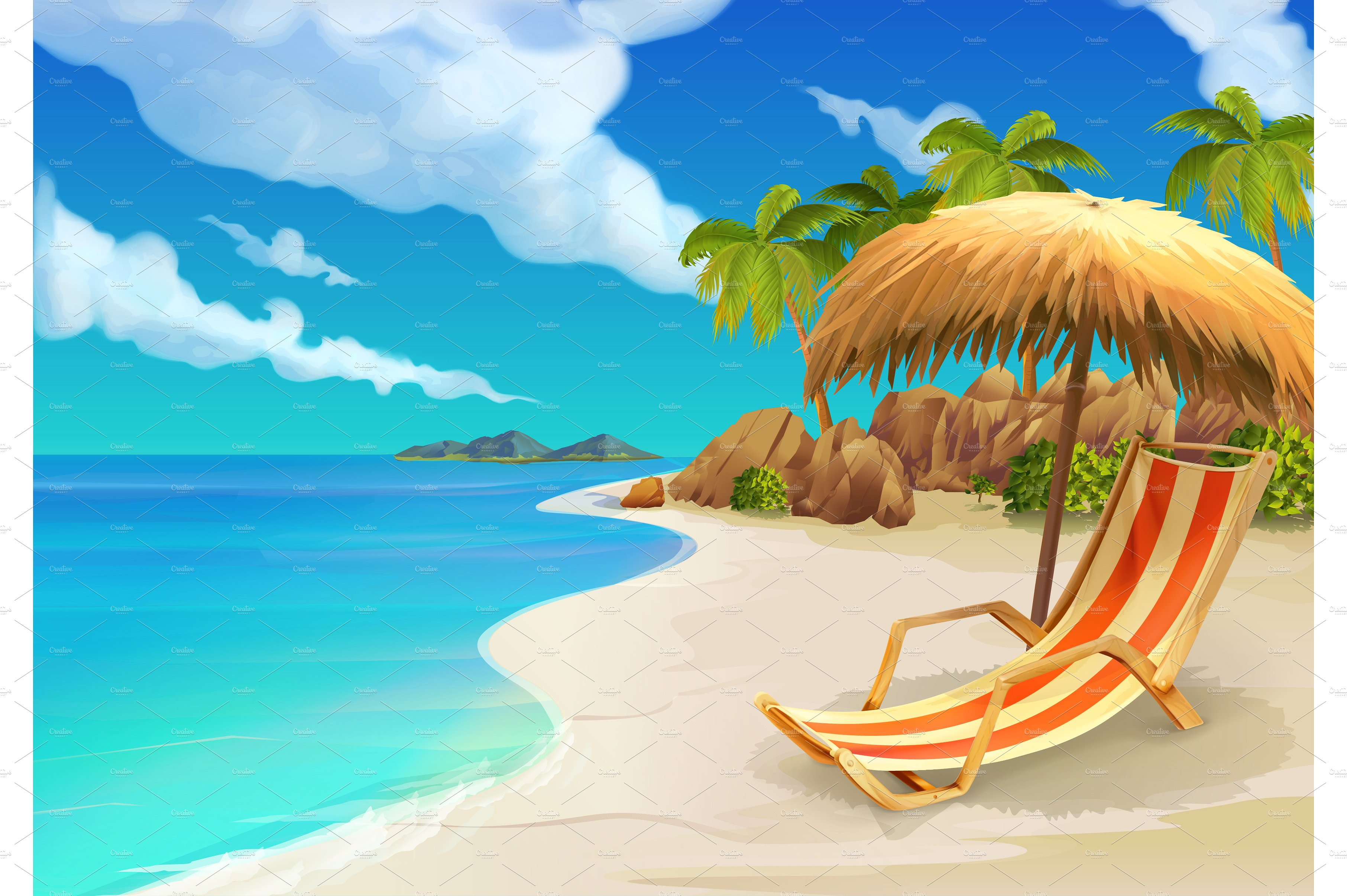Tropical beach ~ Illustrations ~ Creative Market