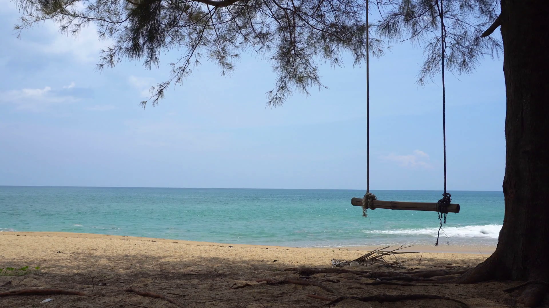 UltraHD 4K video - Small waves gently wash this peaceful. tropical ...