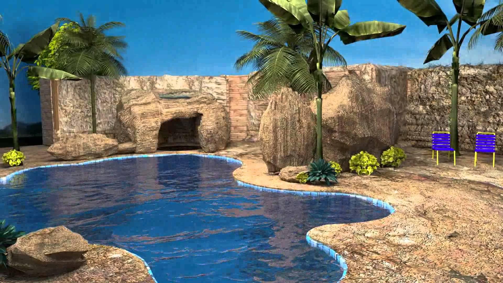 Backyard Tropical Swimming Pool - YouTube