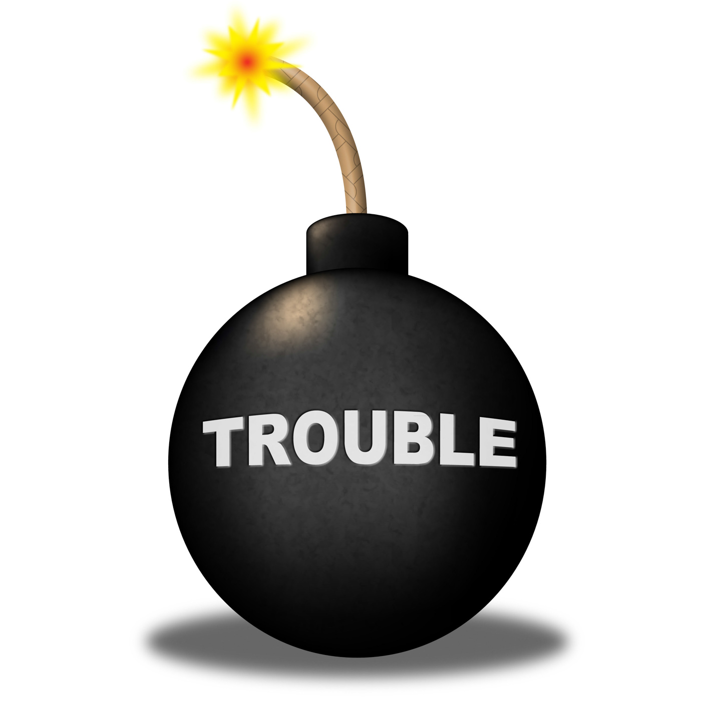 Trouble alert means stumbling block and advisory photo