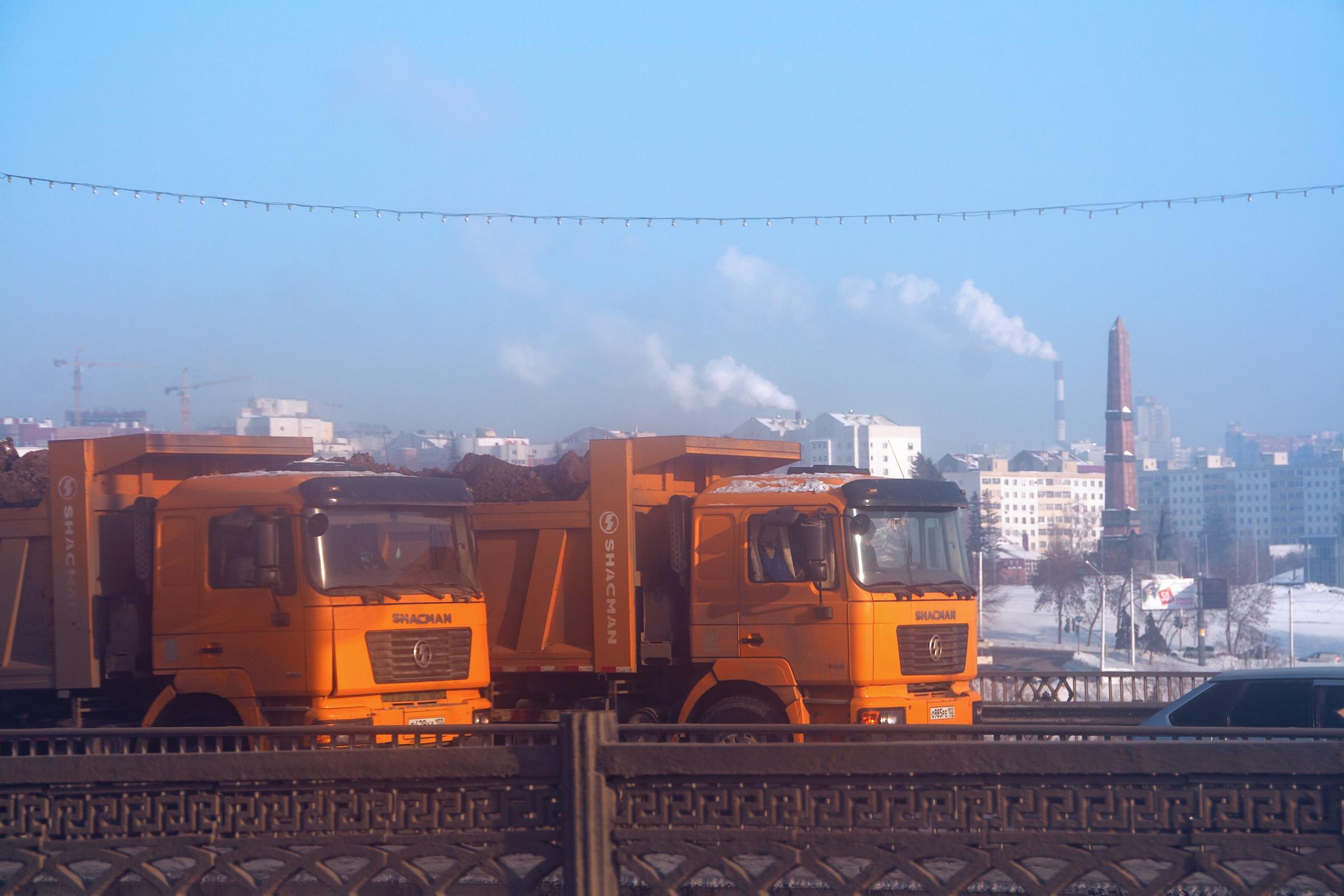 Trucks, Asphalt, Traffic, Vehicle, Ufa, HQ Photo