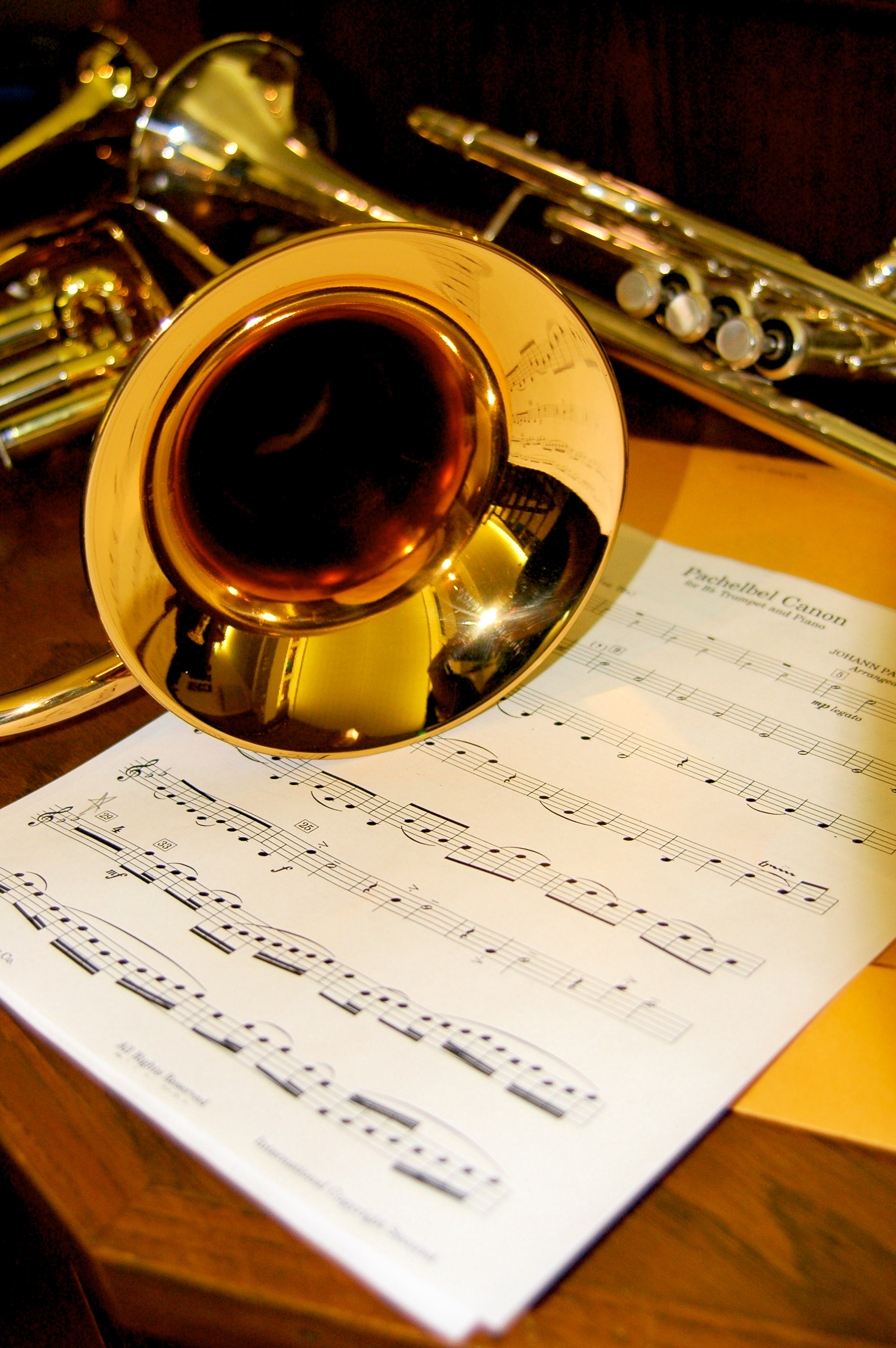 Trumpet and music sheet photo