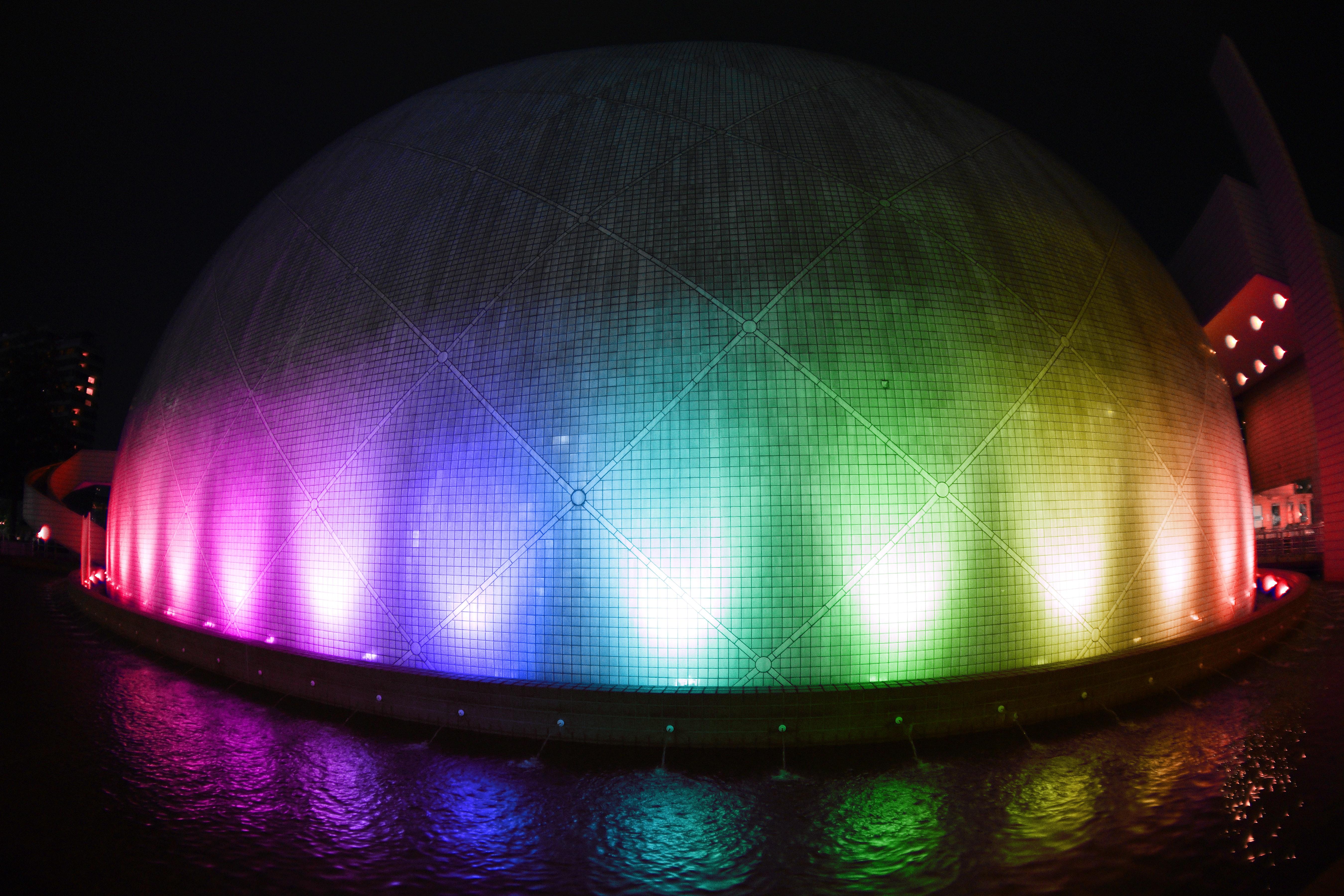 Turned on multicolored led lights photo
