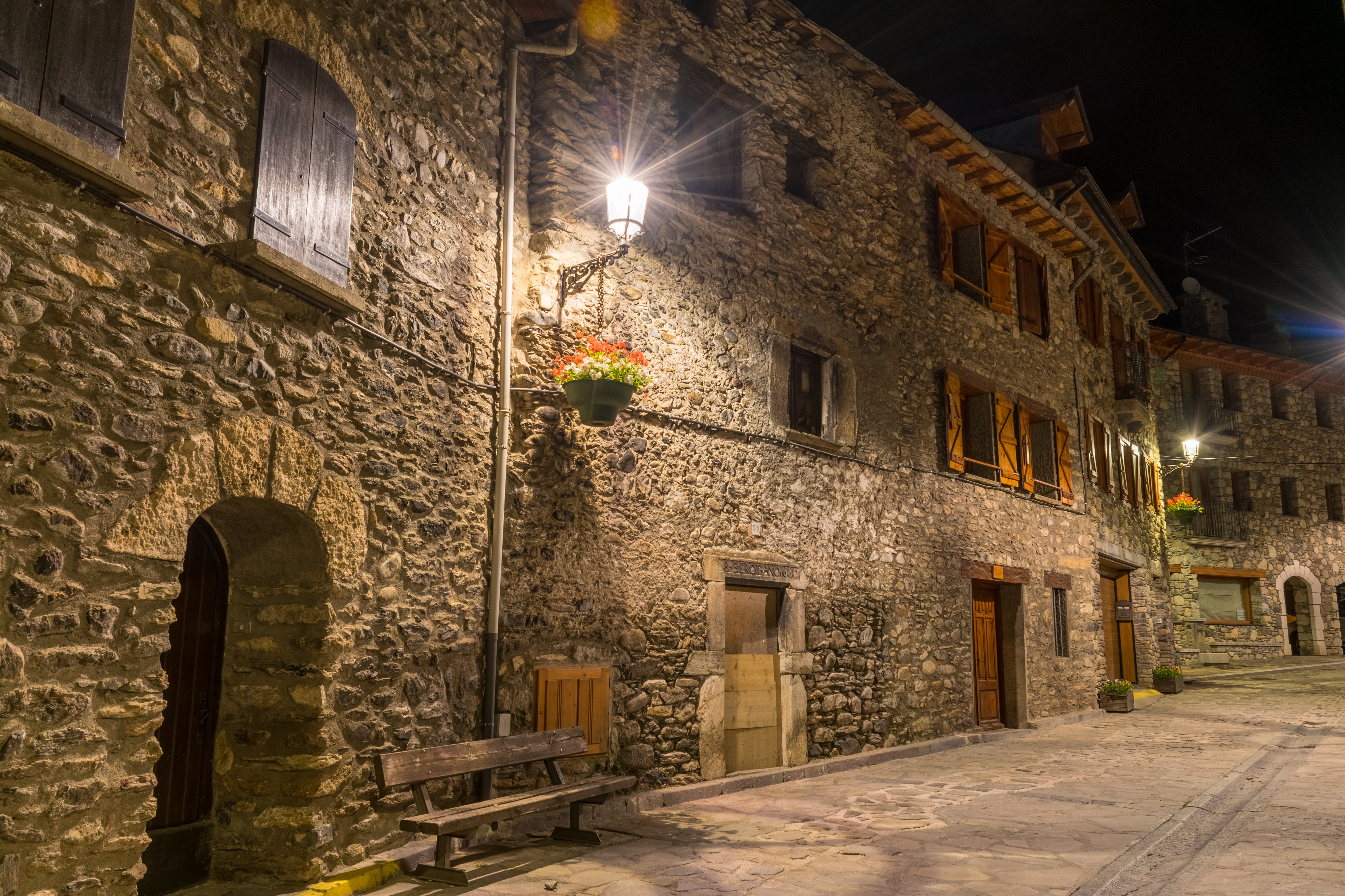 Turned on Outdoor Lamp during Nighttime, Alley, Architecture, Buildings, City, HQ Photo