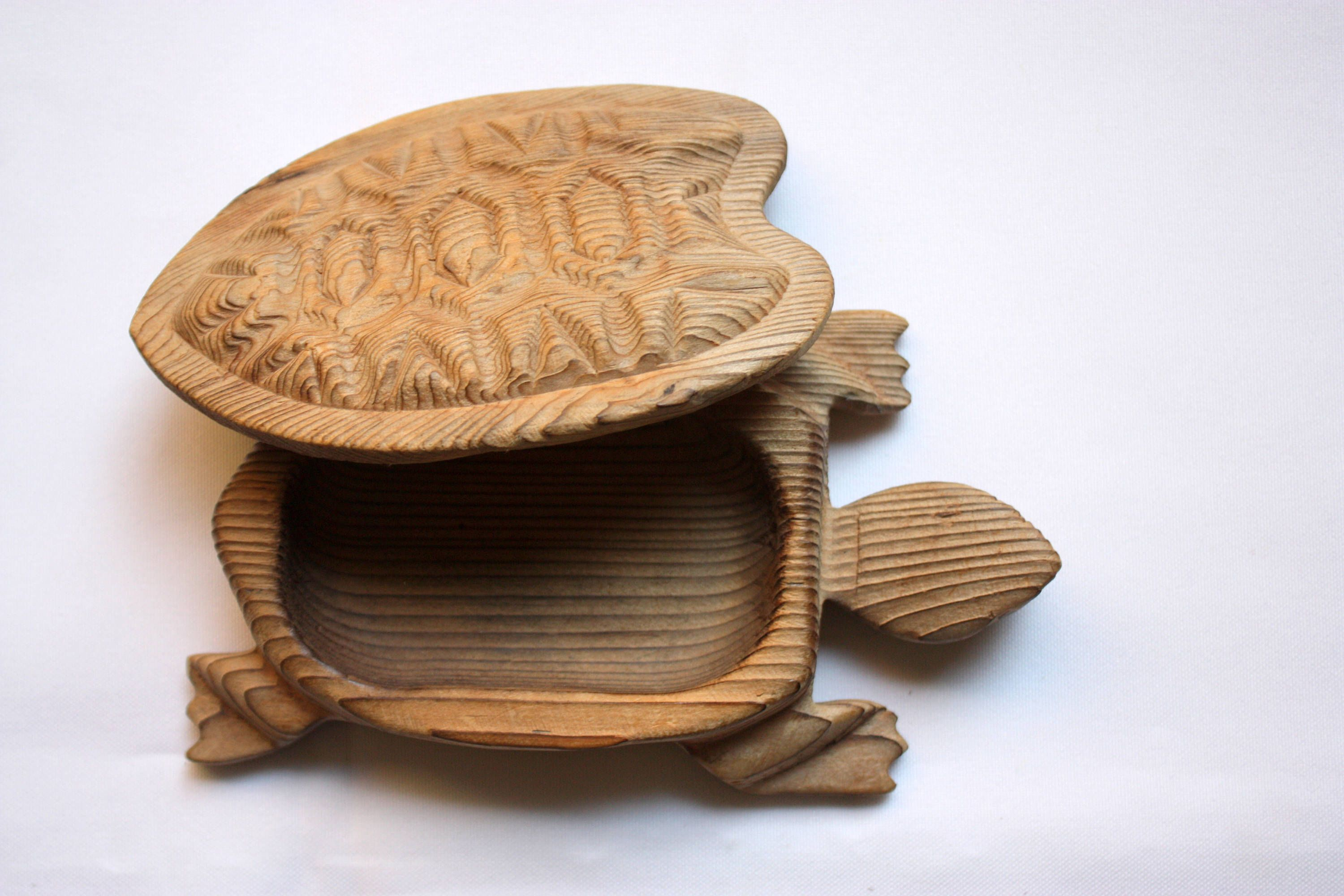 Carved Turtle Box, Wood Turtle Box, Turtle Collector, Turtle Lover ...