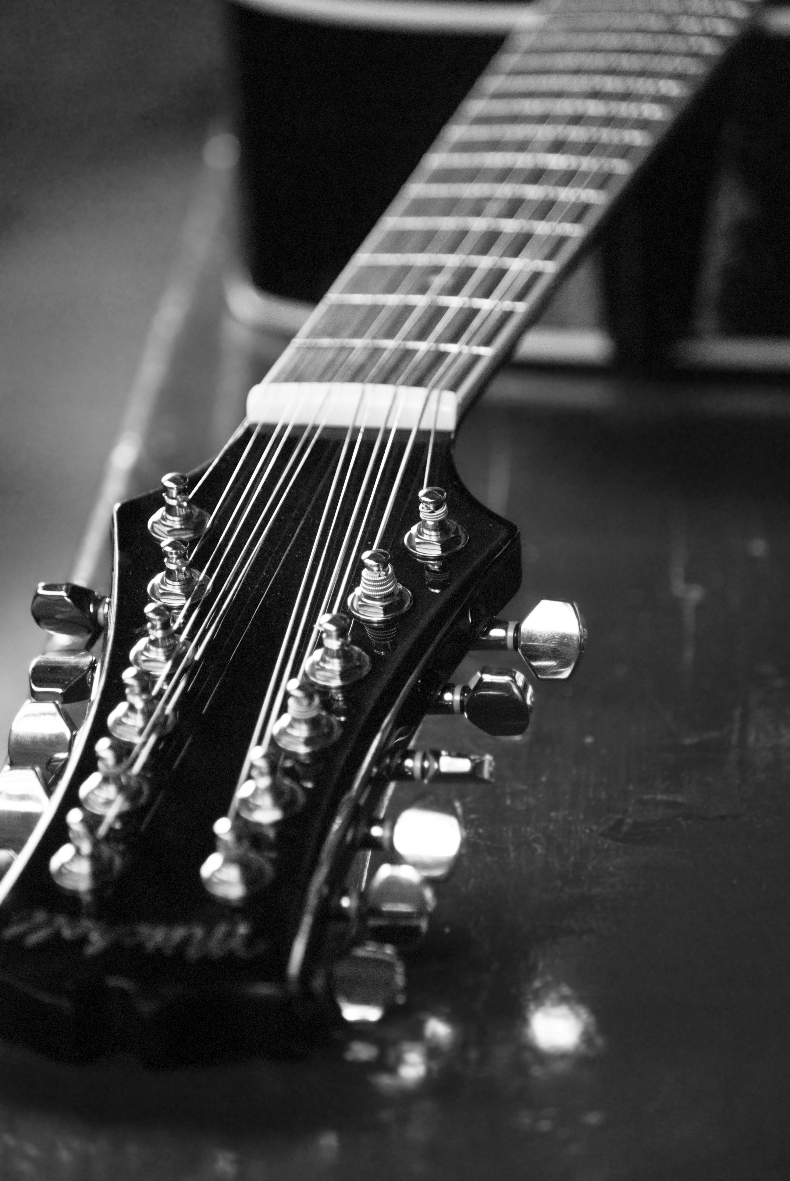 Twelve String Guitar, 12, Black, Closeup, Guitar, HQ Photo