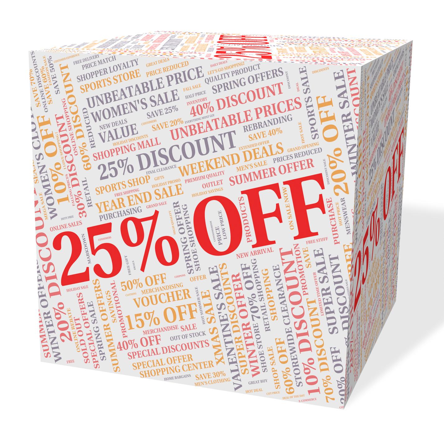 Twenty five percent indicates bargain save and word photo