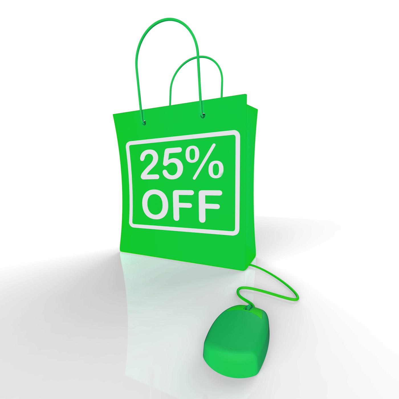 Twenty-five percent off bag represents online shopping 25 discounts photo