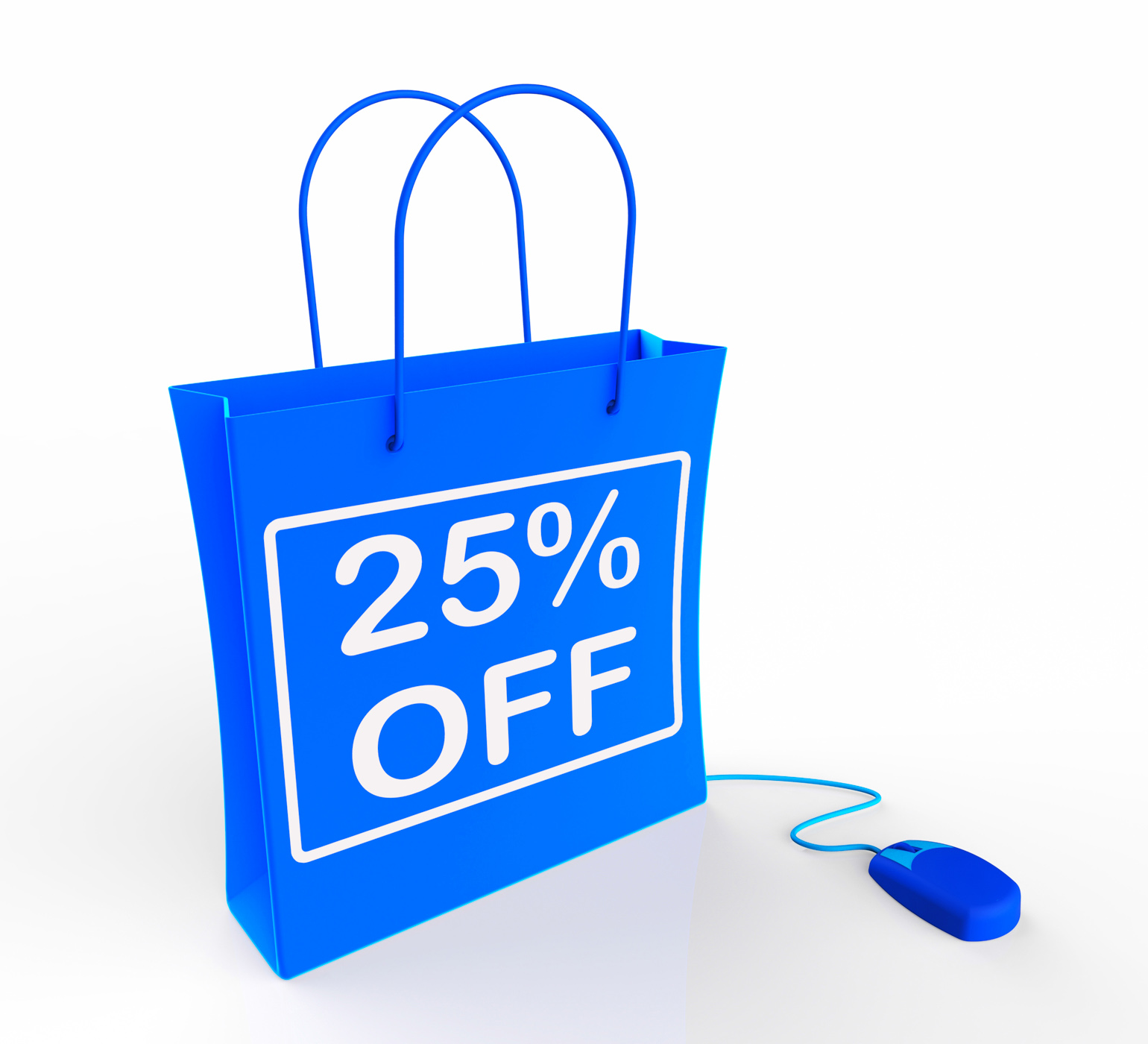 Twenty-five percent off bag shows 25 reductions in price photo