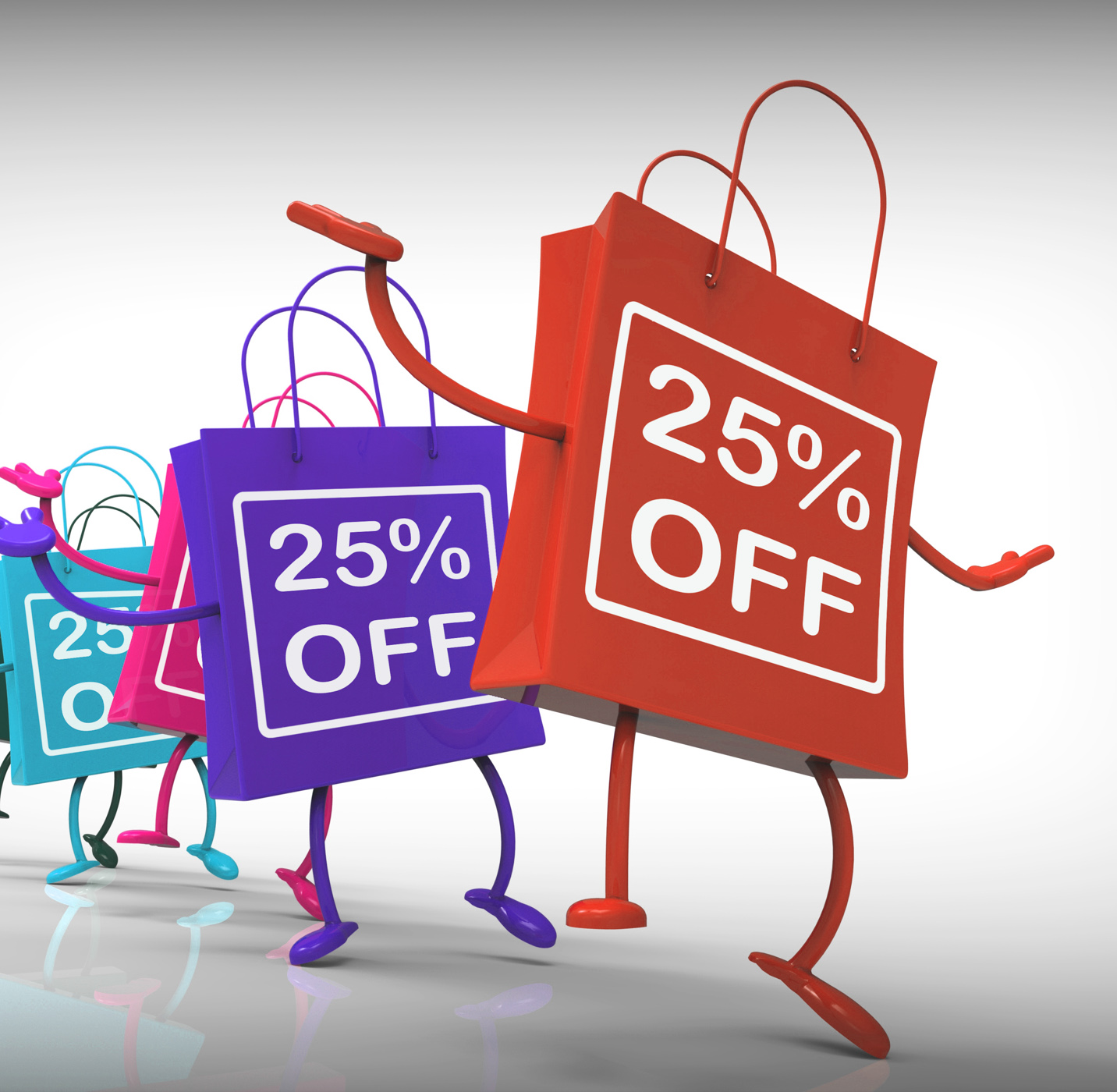 Twenty-five percent off bags show 25 sales photo