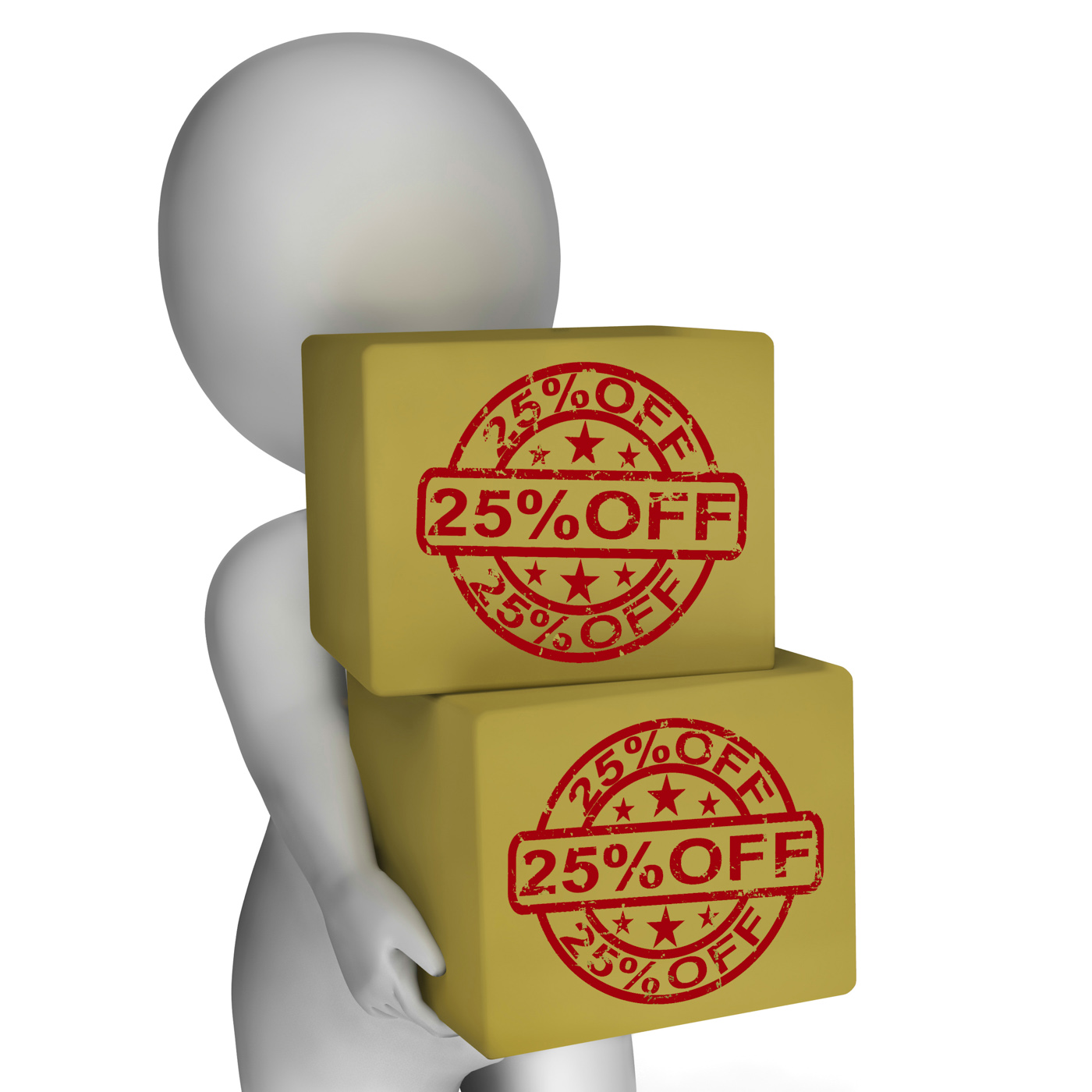 Twenty five percent off boxes show 25 price markdown photo