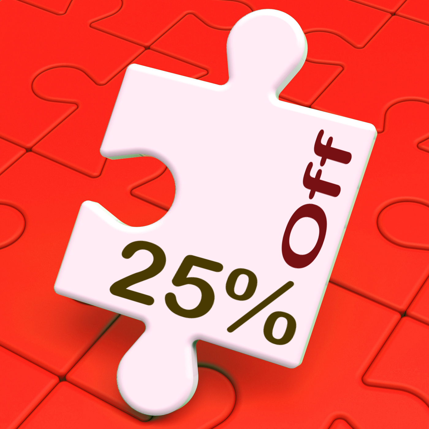 Twenty five percent off puzzle means reduction or sale 25 photo