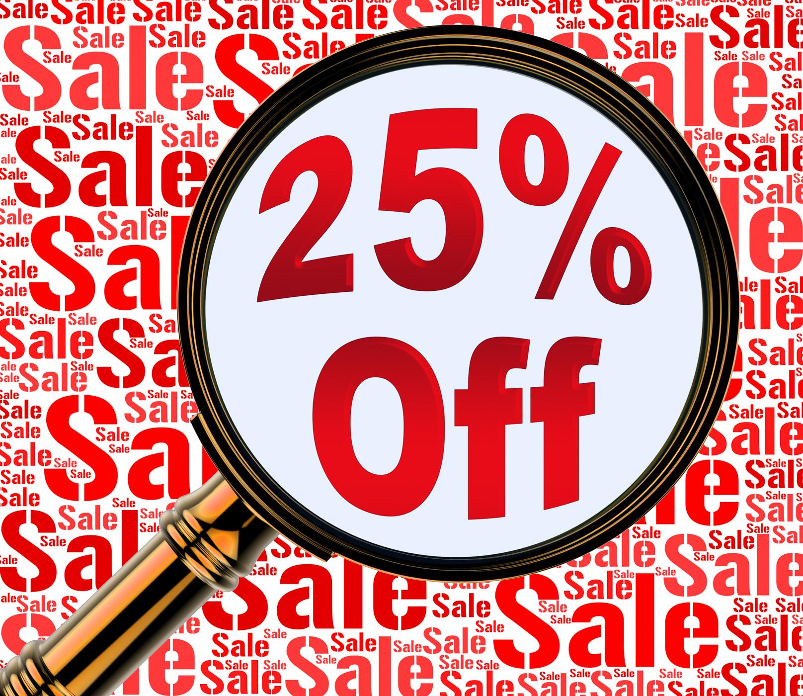 Twenty five percent off shows 25 discount 3d rendering photo