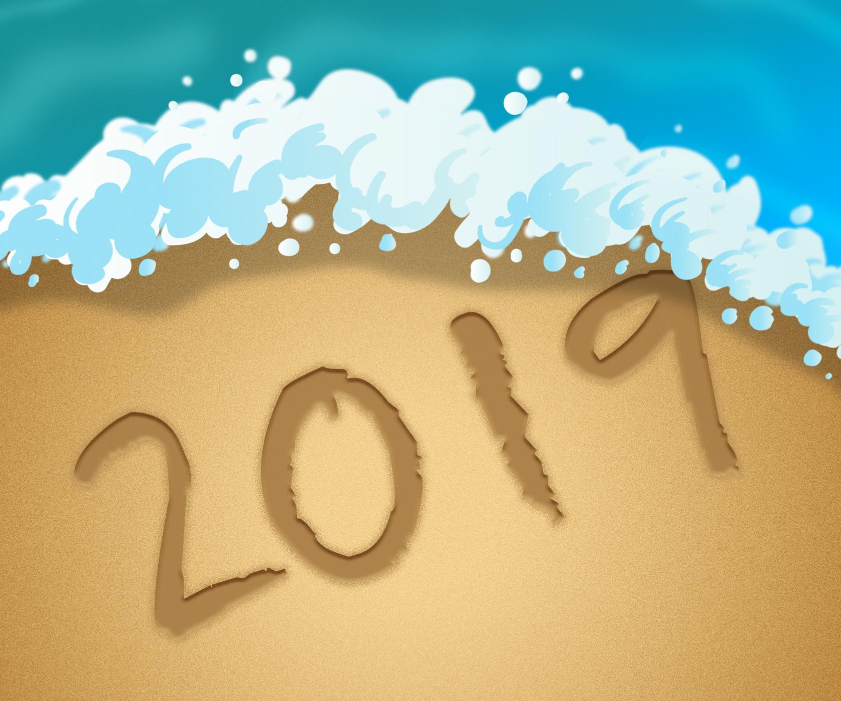 Twenty nineteen represents 2019 new year 3d illustration photo