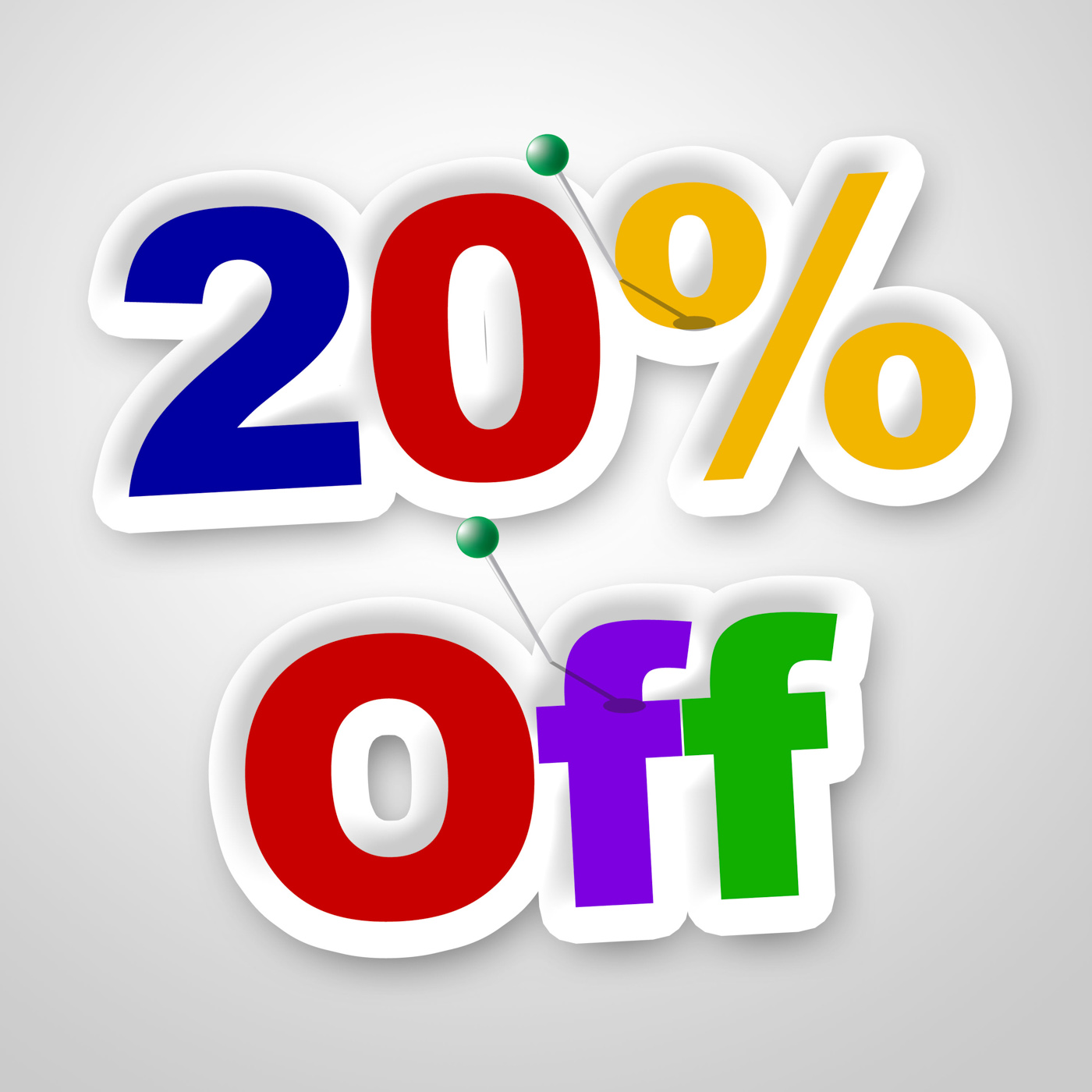 Twenty percent off indicates reduction savings and save photo