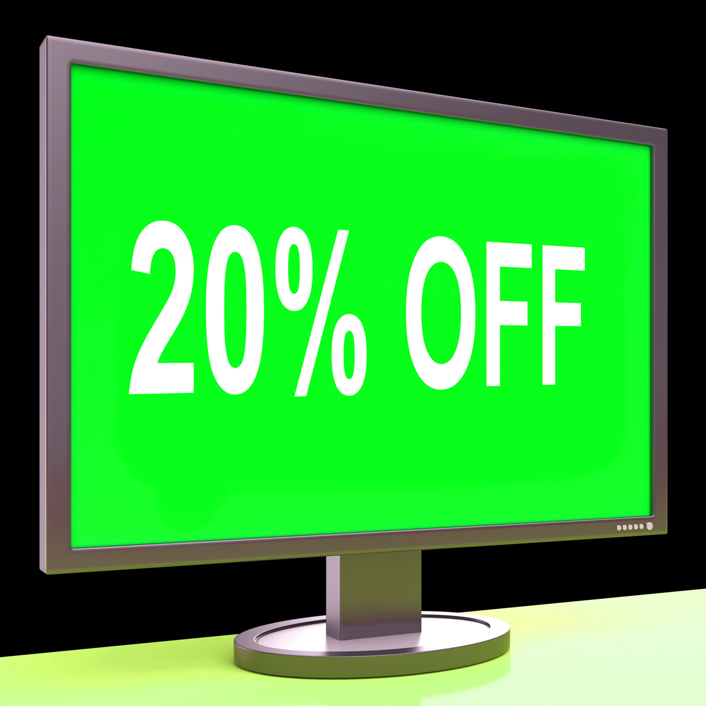 Twenty percent off monitor means discount or sale online photo