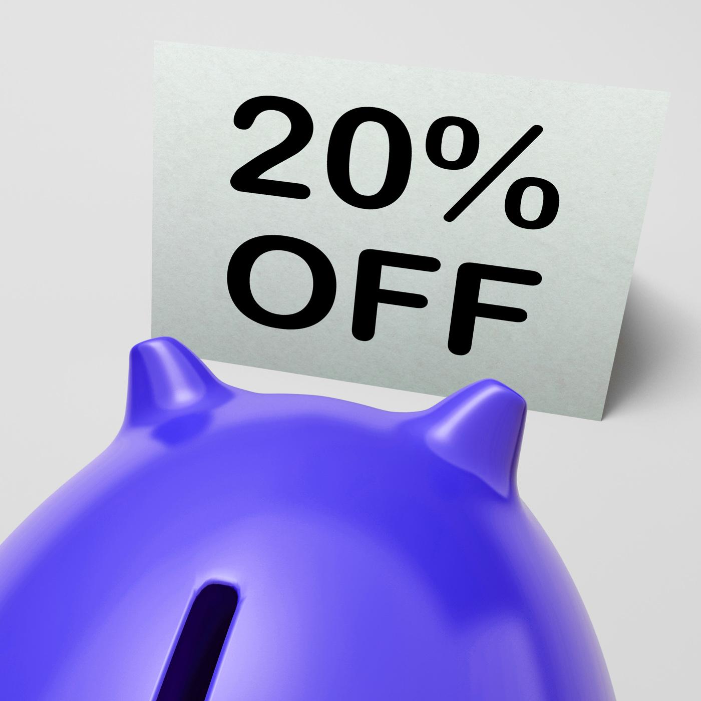 Twenty percent off piggy bank means discounted 20 photo