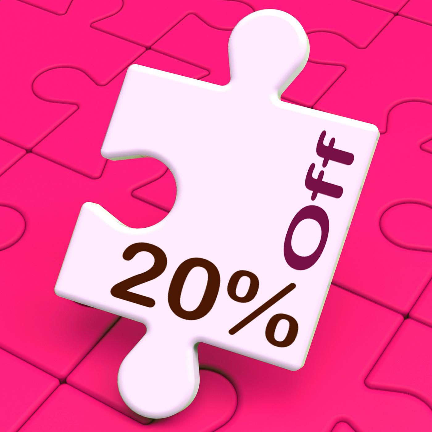 Twenty percent off puzzle means discount or sale 20 photo