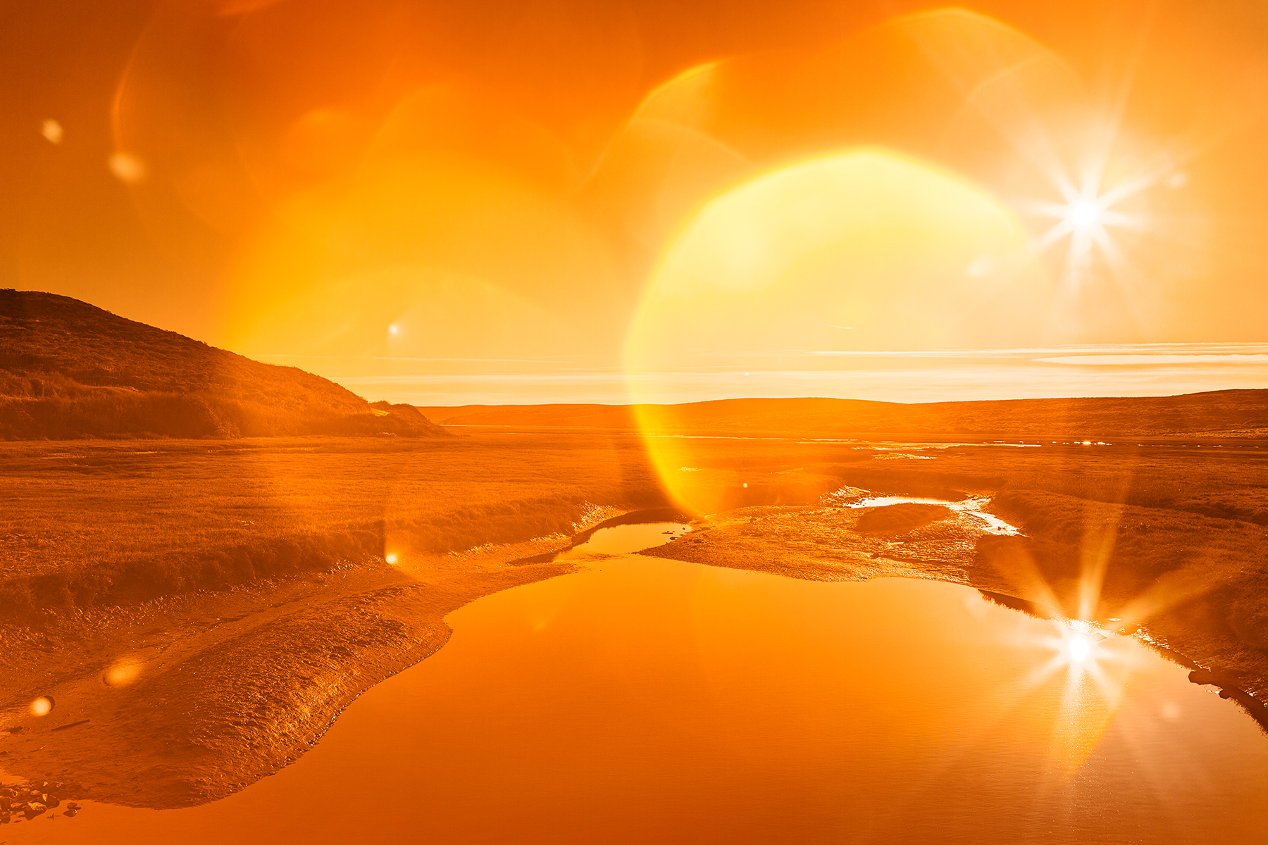 Twin Suns of Point Reyes - Gold Bokeh Bliss, Round, Soft, Smooth, Sky, HQ Photo