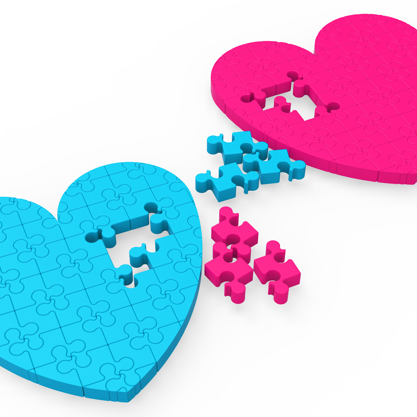 Two 3D Hearts Showing Romantic Gestures, Pieces, Turquoise, Threedimensional, Sweetheart, HQ Photo