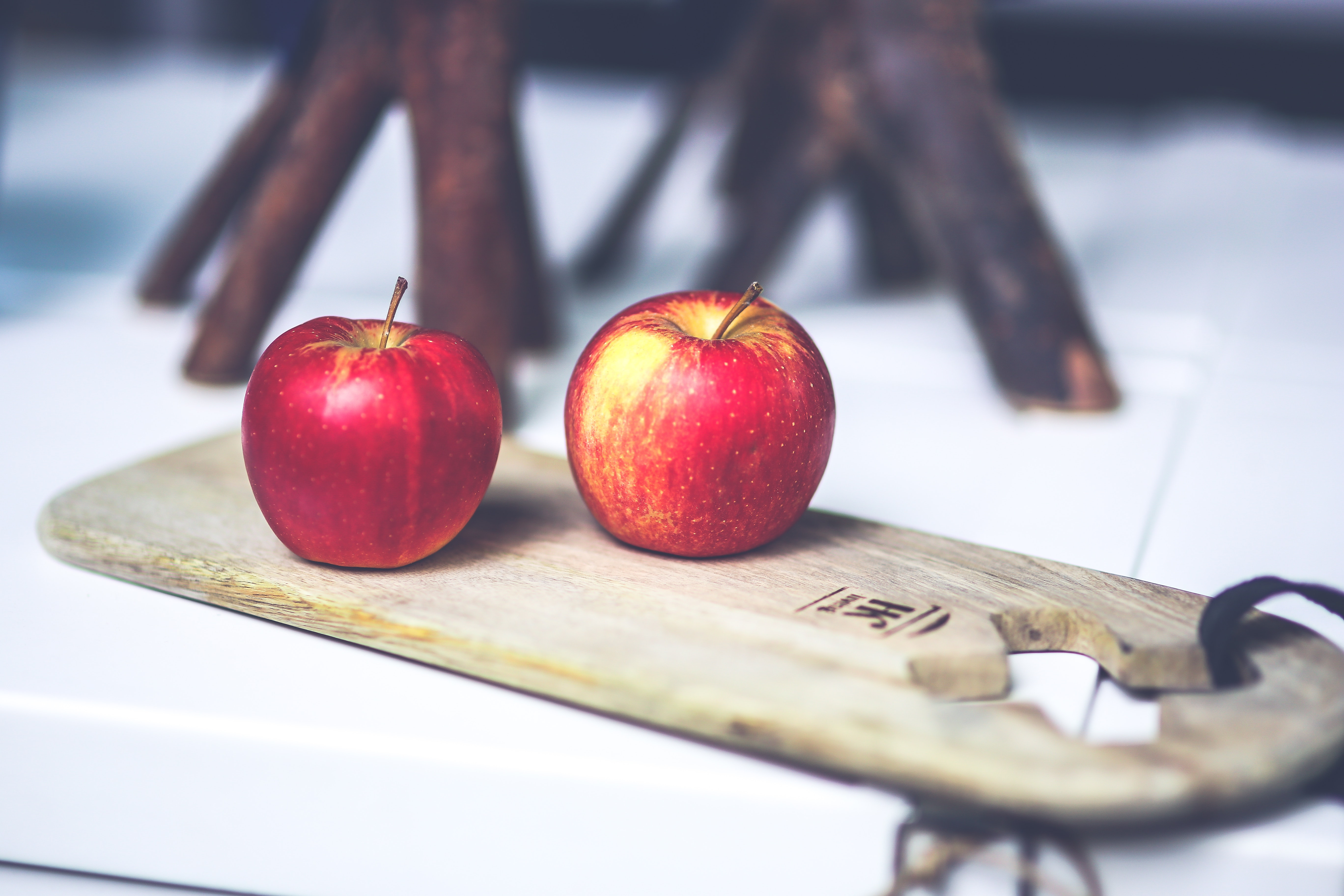 Two apples on the board, Apple, Knife, Wood, Taste, HQ Photo