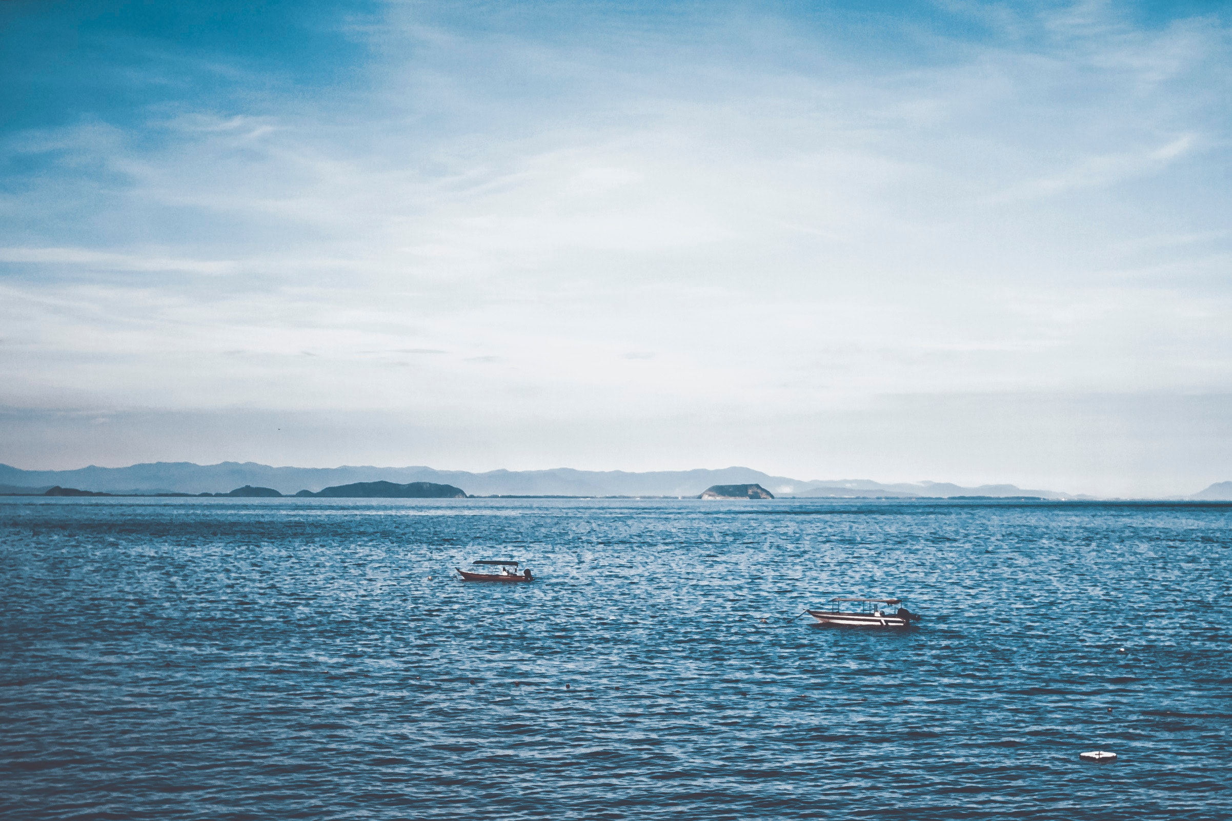 Two Boats in Ocean, Blue, Sea, Water, Transportation system, HQ Photo
