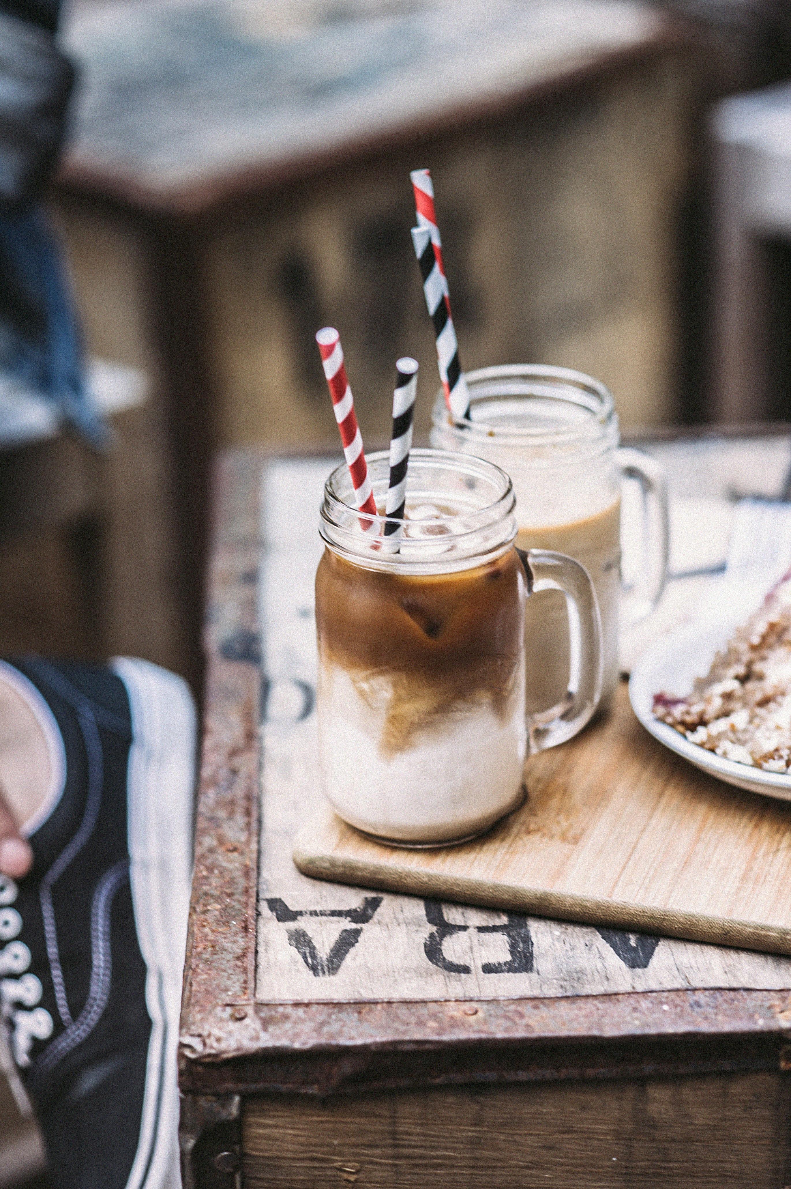 Two Clear Mason Jars, Blur, Breakfast, Close -up, Drinks, HQ Photo