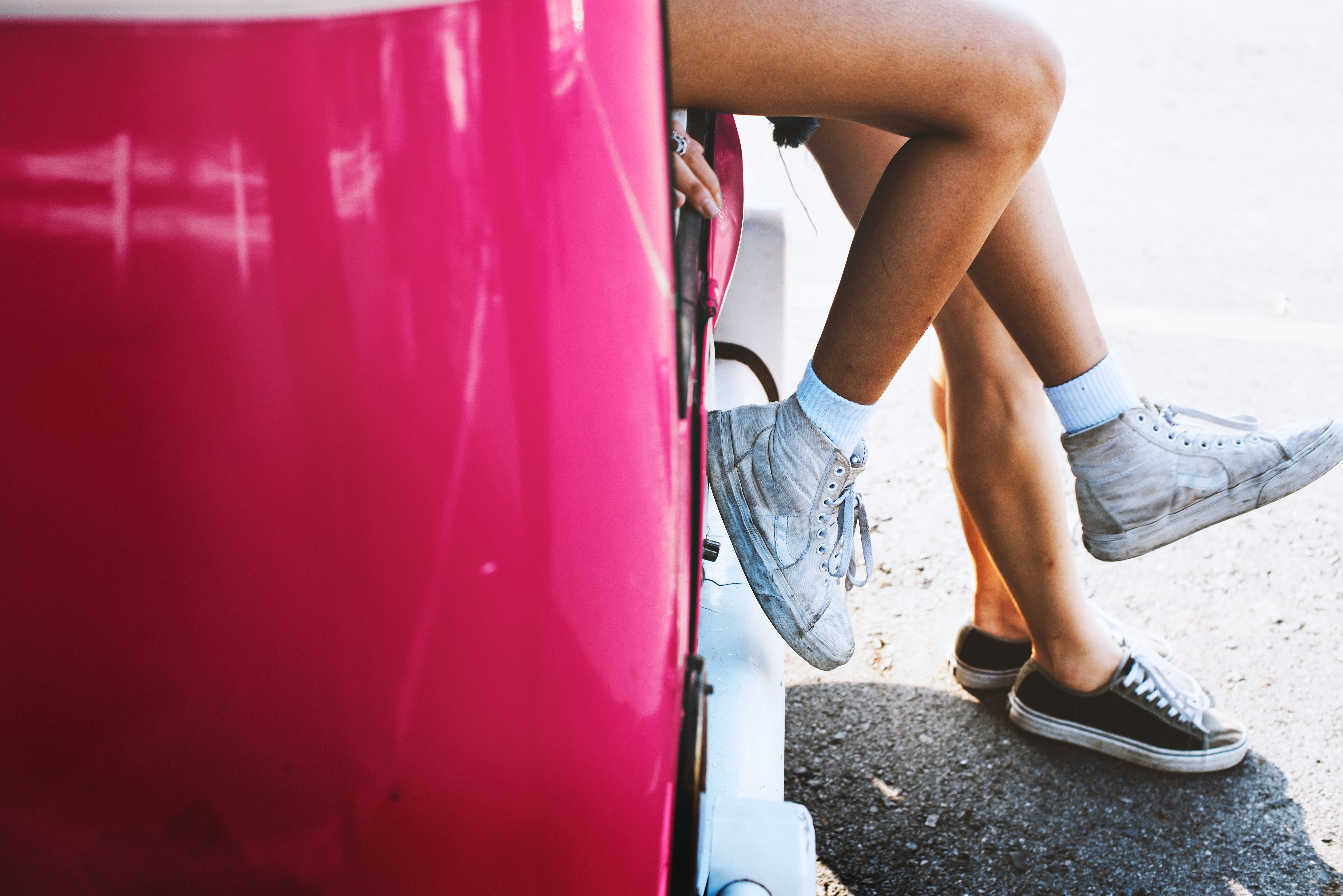 Two Female Sitting on Pink Car, Road, Young, Women, Wear, HQ Photo