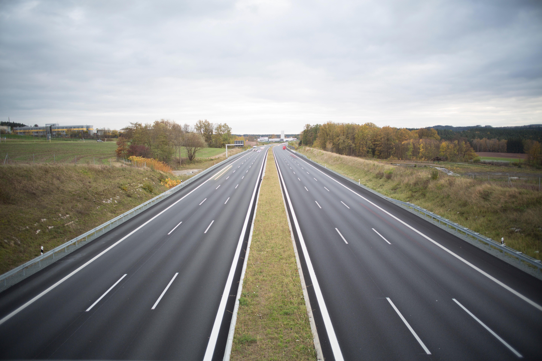 Two Grey Concrete Roads Between Green Grasses, Asphalt, Lanes, Roads, Outside, HQ Photo