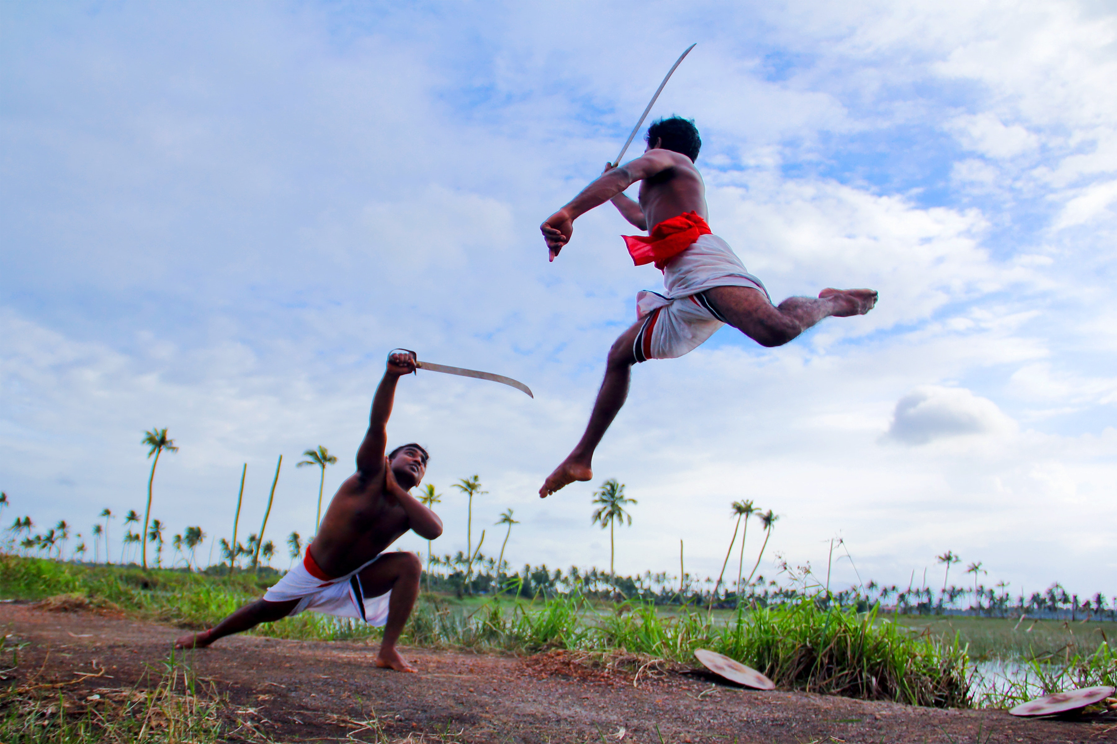 Two Man in White Shorts Fighting Using Sword during Daytime, India, People, Sport, Swords, HQ Photo
