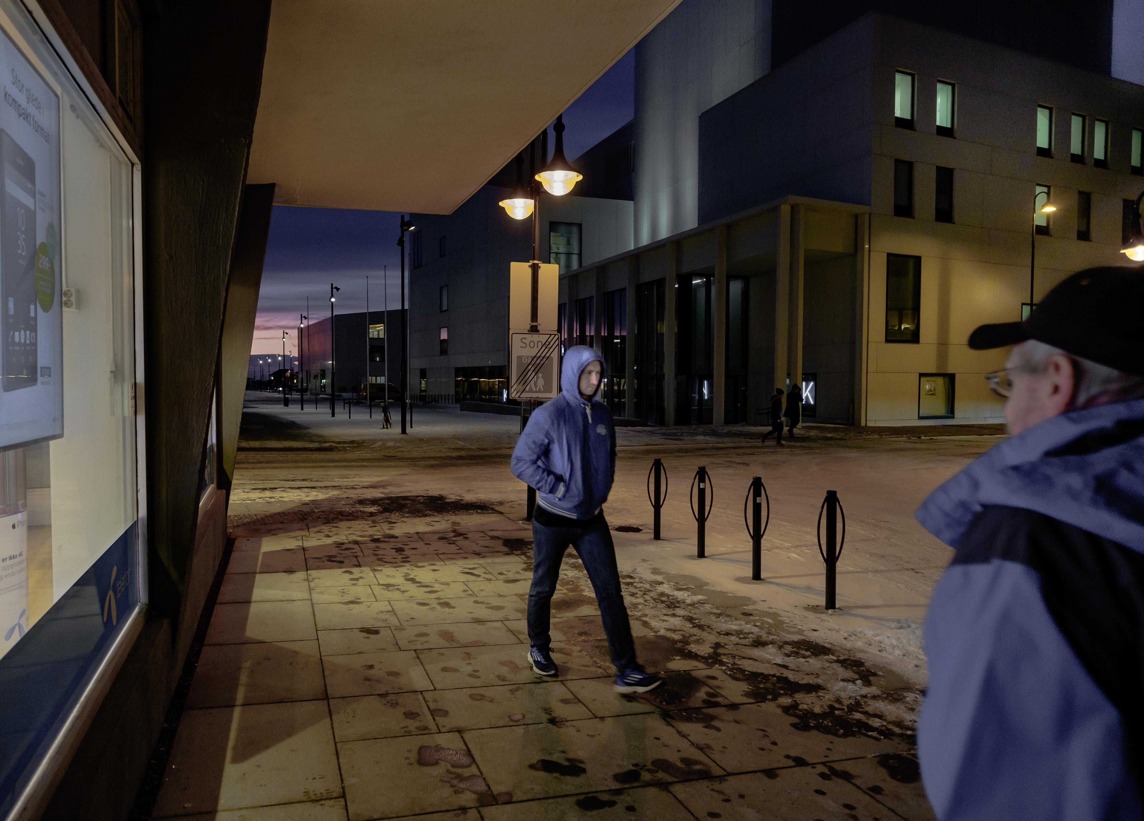 Two Men in Blue, Architechture, Blue, Bodø, Candid, HQ Photo