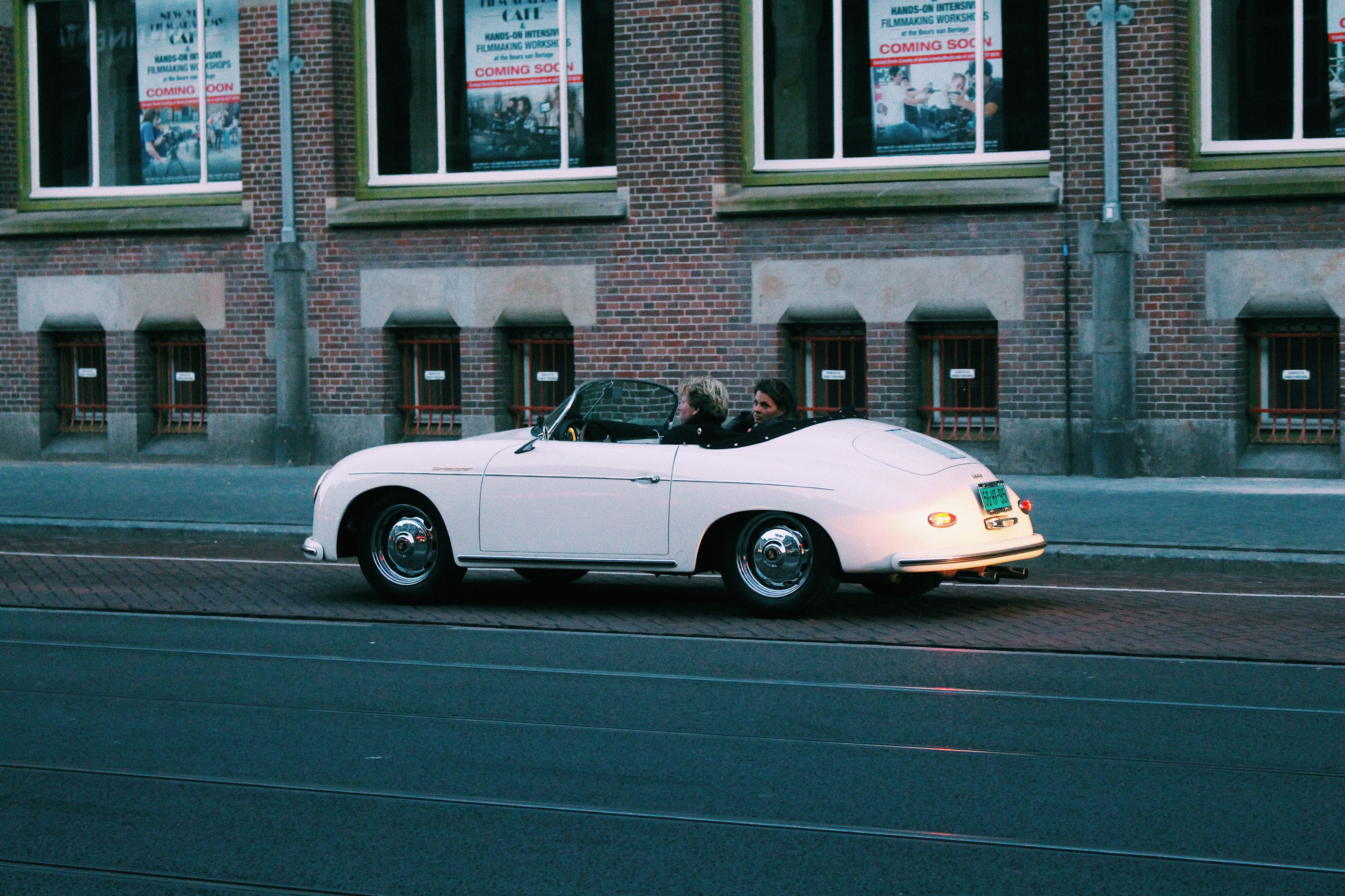 Two People Riding White Classic Convertible Car, Road, Road trip, Street, People, HQ Photo