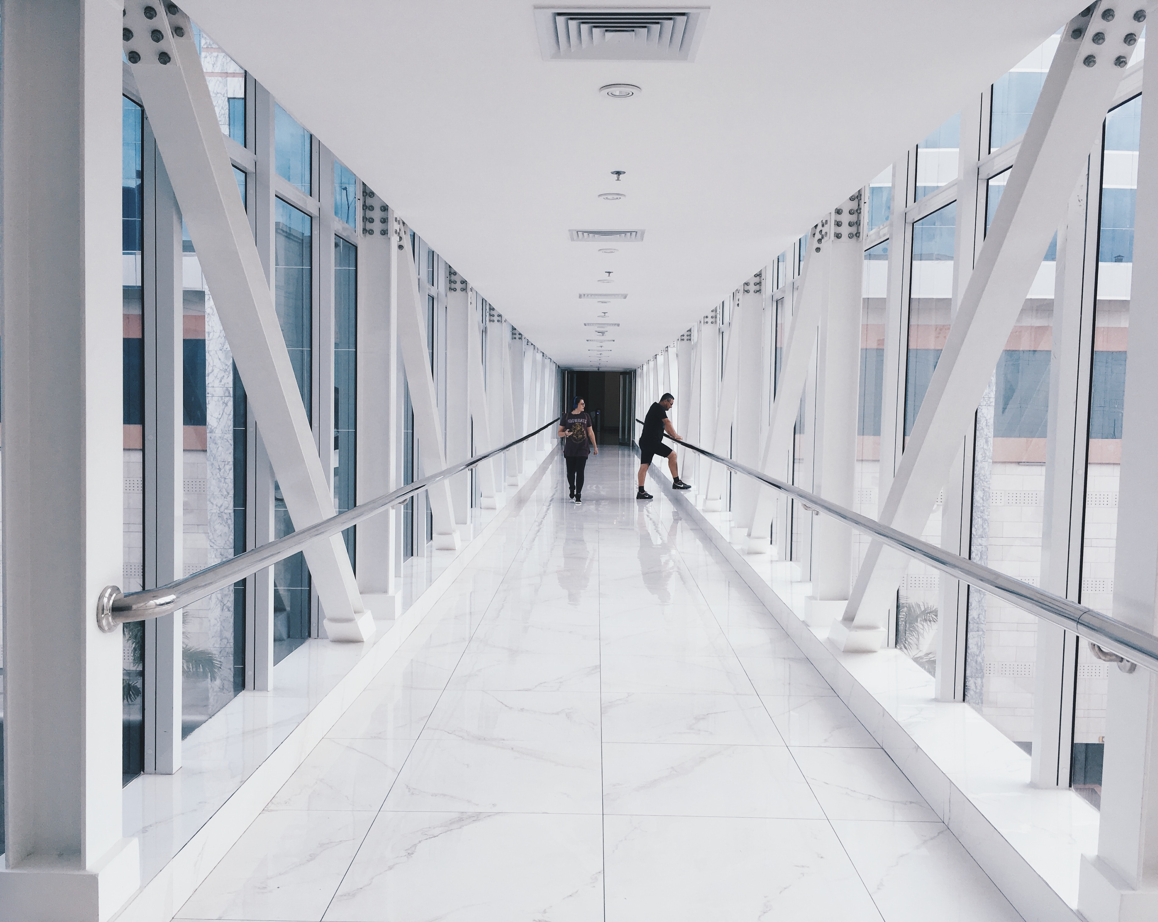 Two People Standing on Hallway Near Glass Window, Architecture, Man, Windows, White, HQ Photo