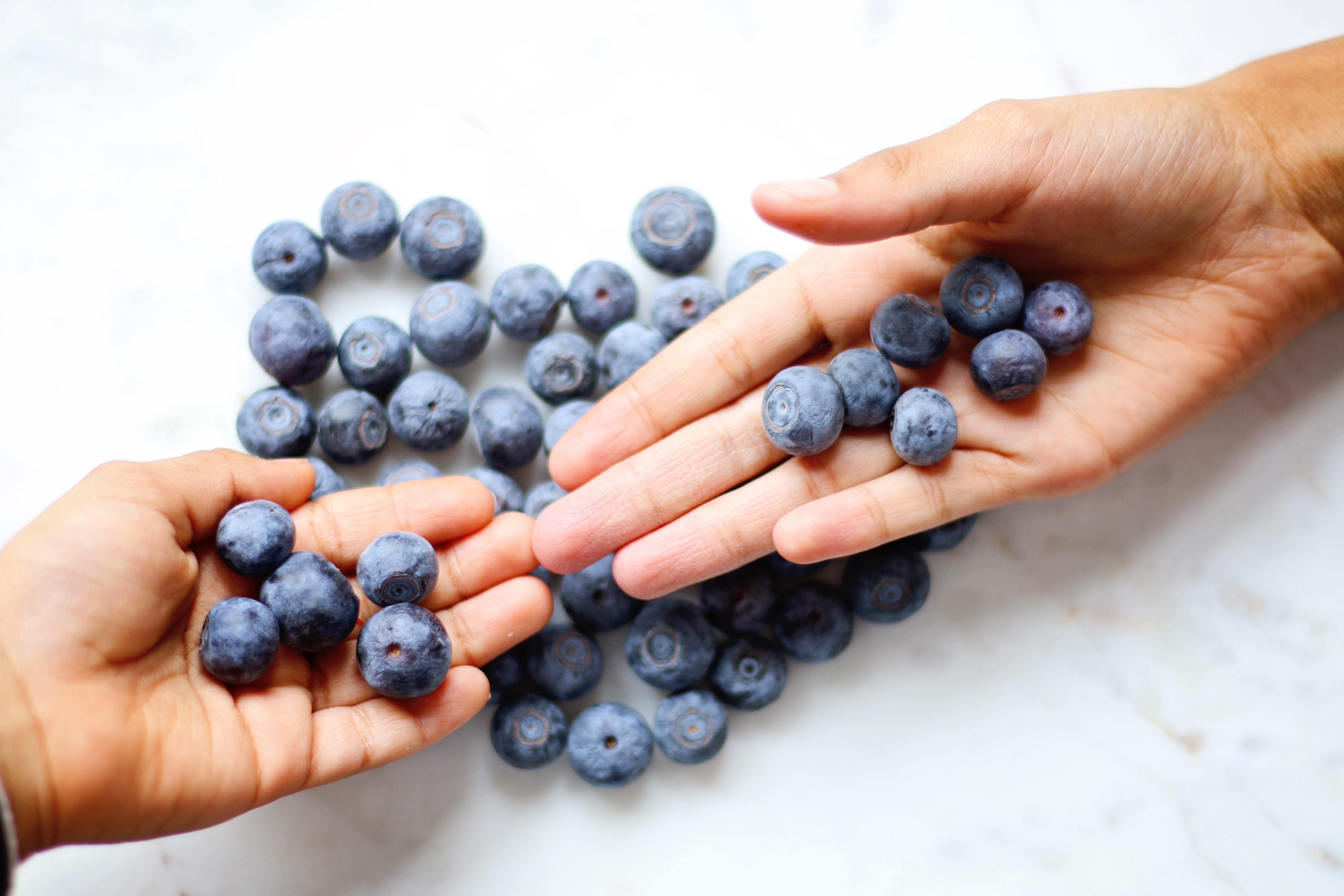 Two person's hand with blueberries on top photo