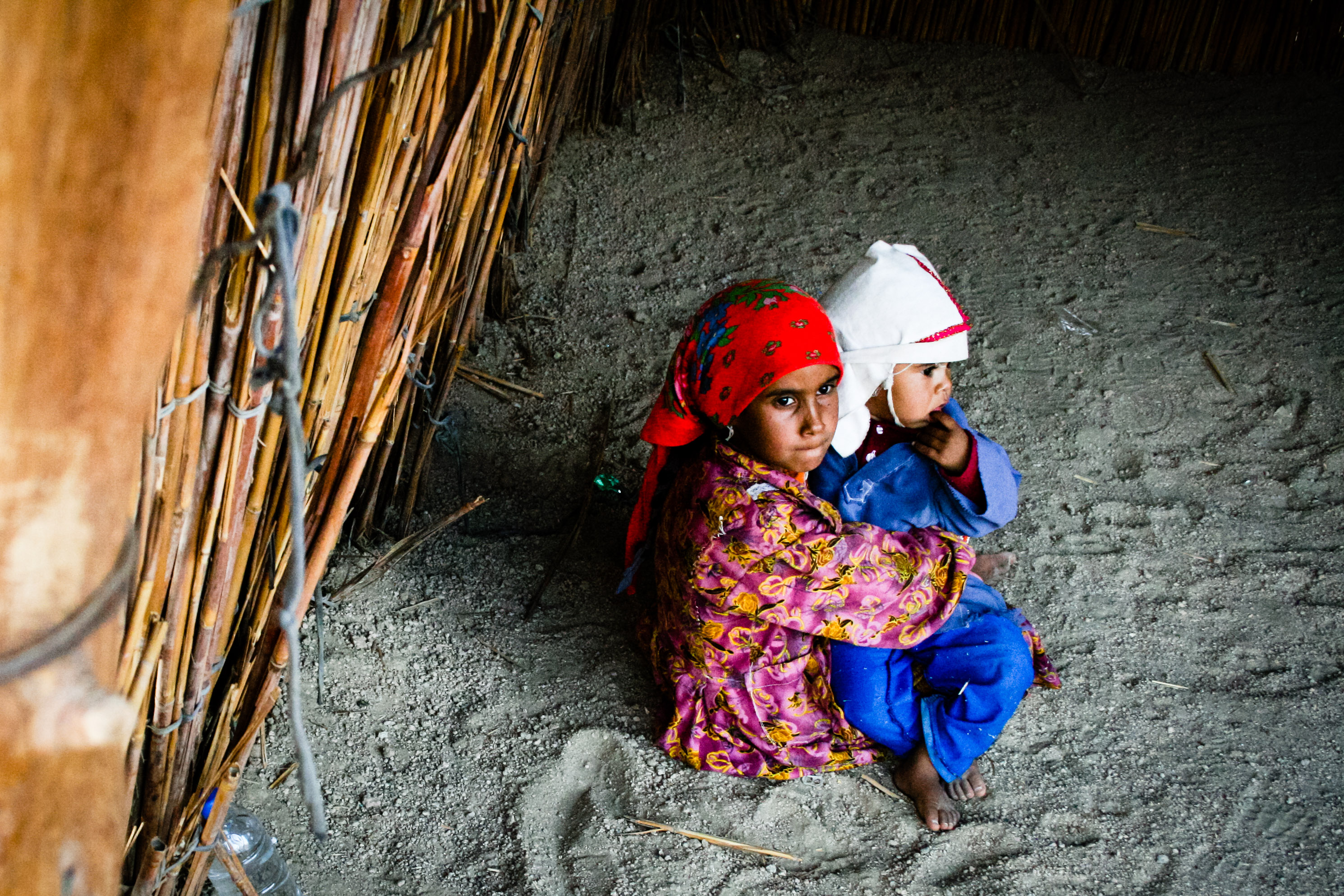 Two poor children, Africa, Kids, Sitting, Sad, HQ Photo