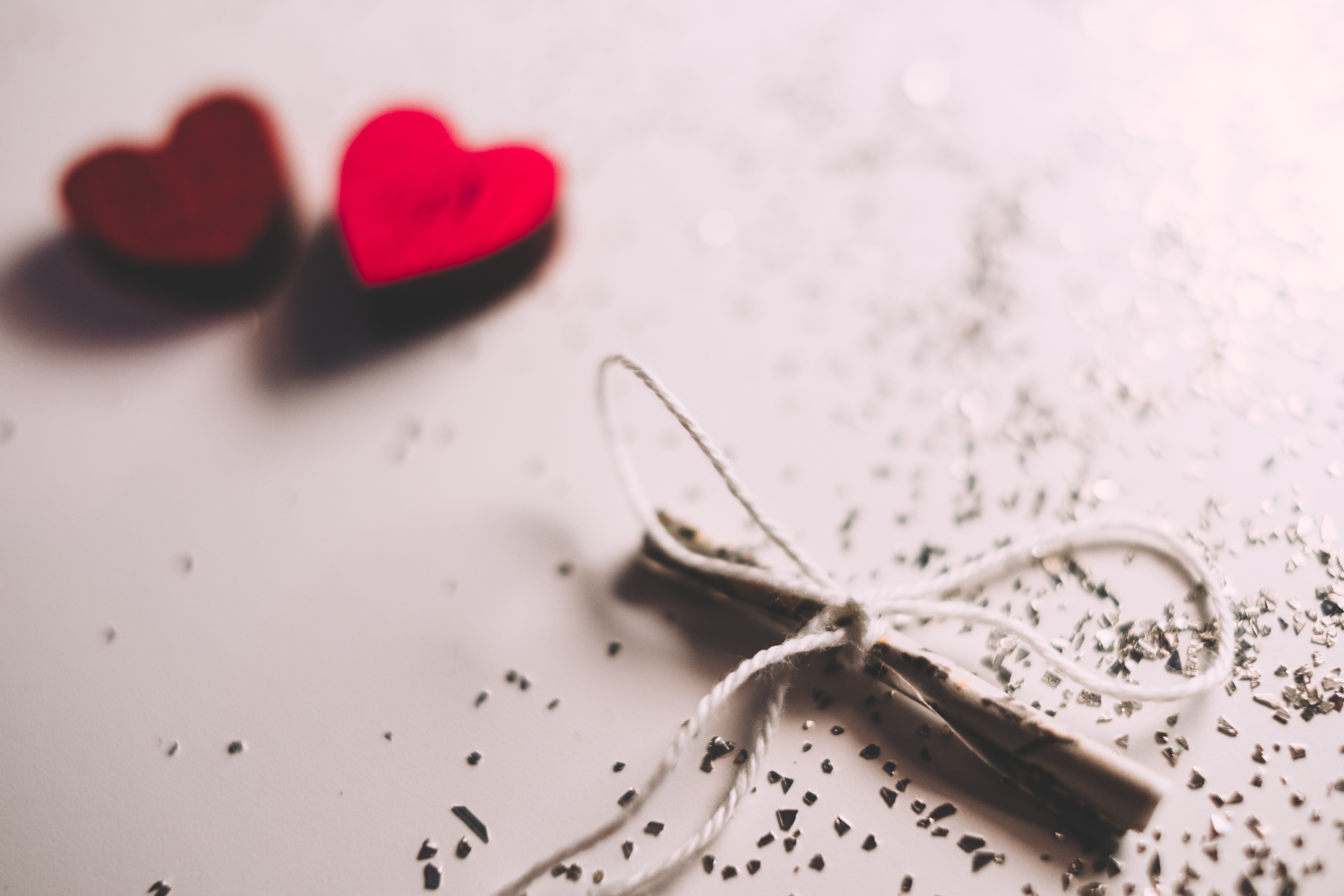 Two Red Hearts, Blur, Close-up, Design, Hearts, HQ Photo